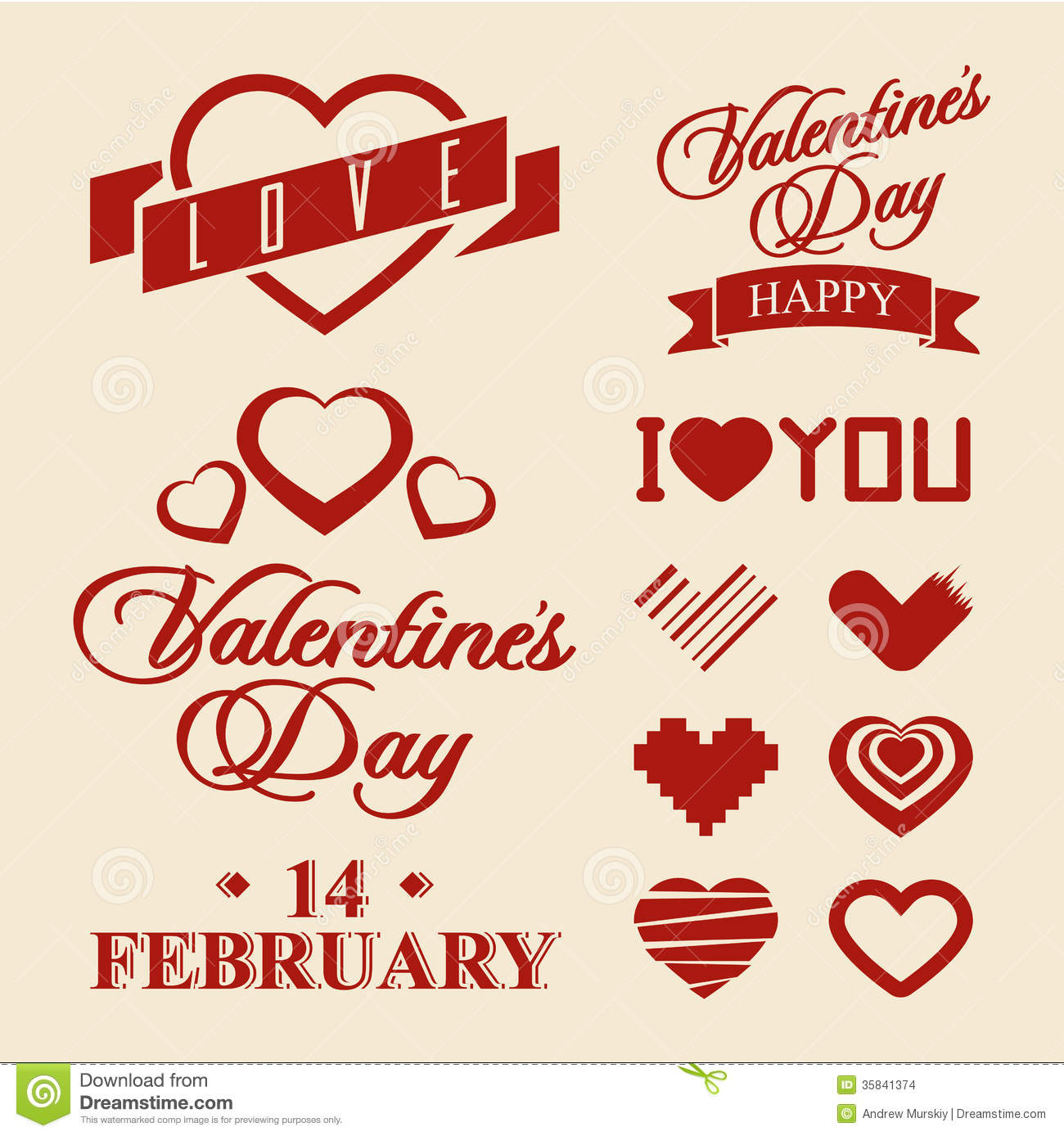 Valentines Day Symbols And Design Elements Stock Images