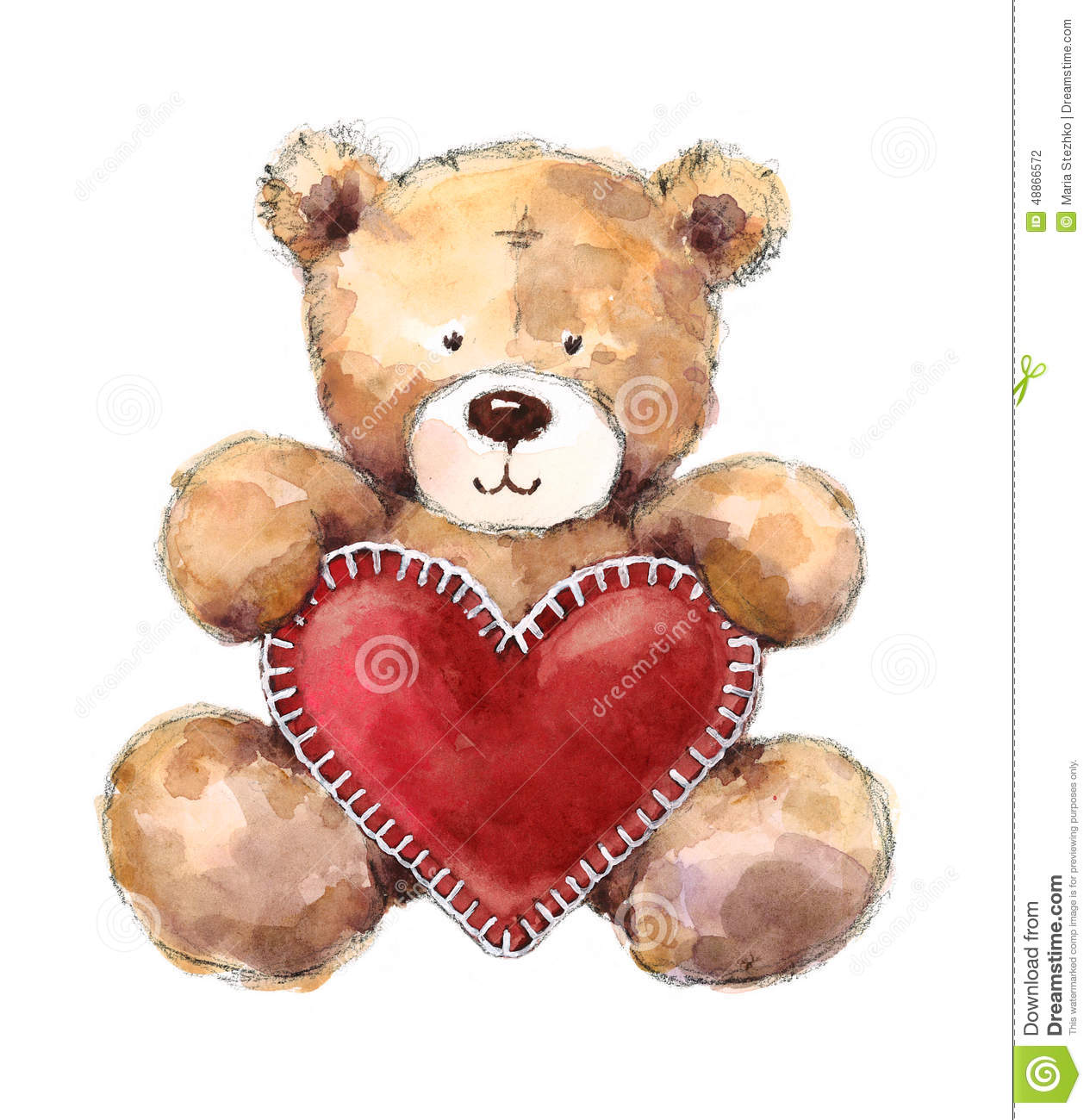 Valentines Day Teddy Bear Holding A Big Heart Stock