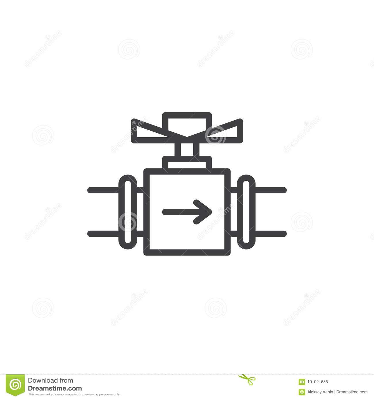 Valve Line Icon Stock Vector Illustration Of Factory