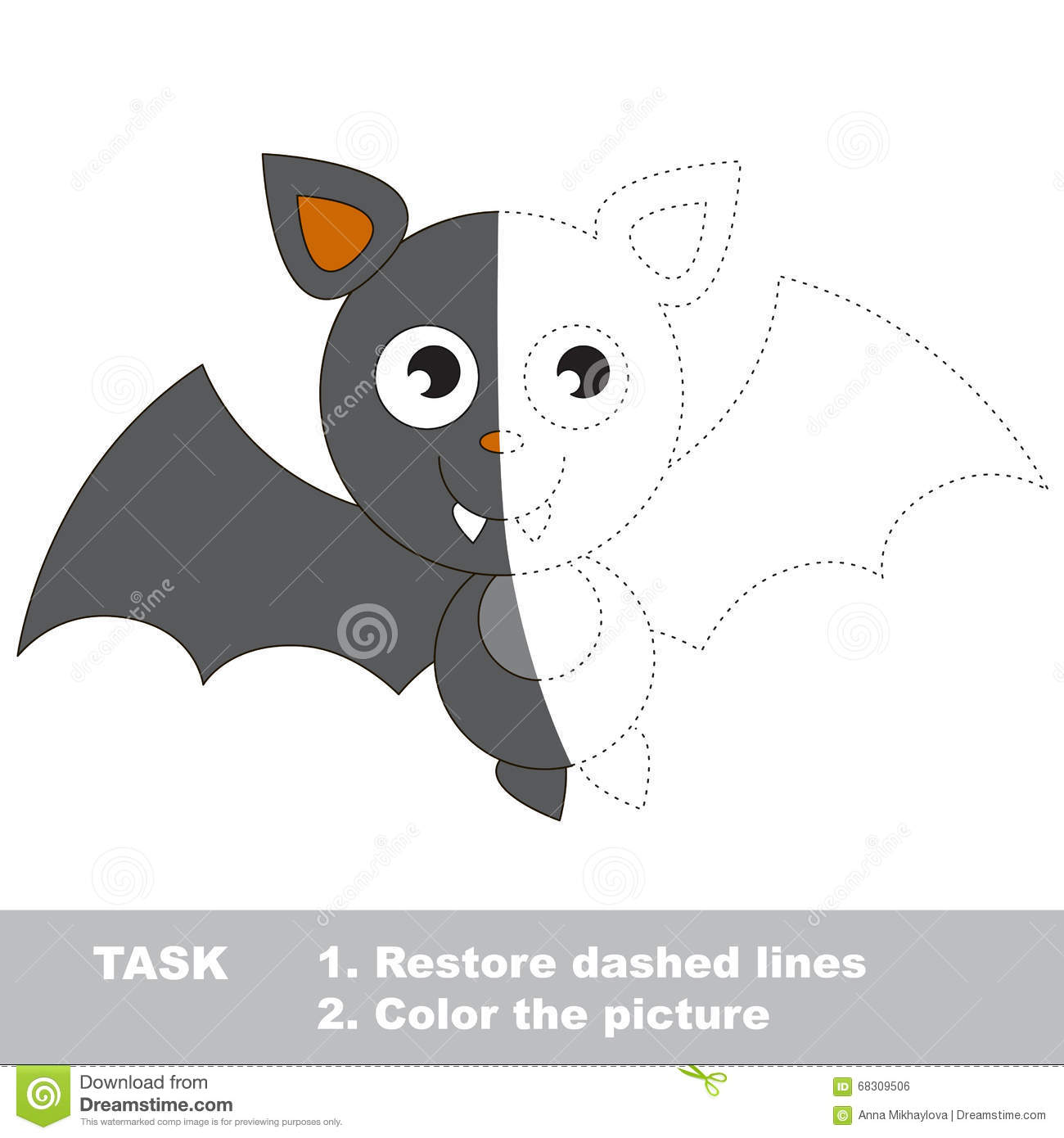Vampire Bat To Be Colored Vector Trace Game Stock Vector