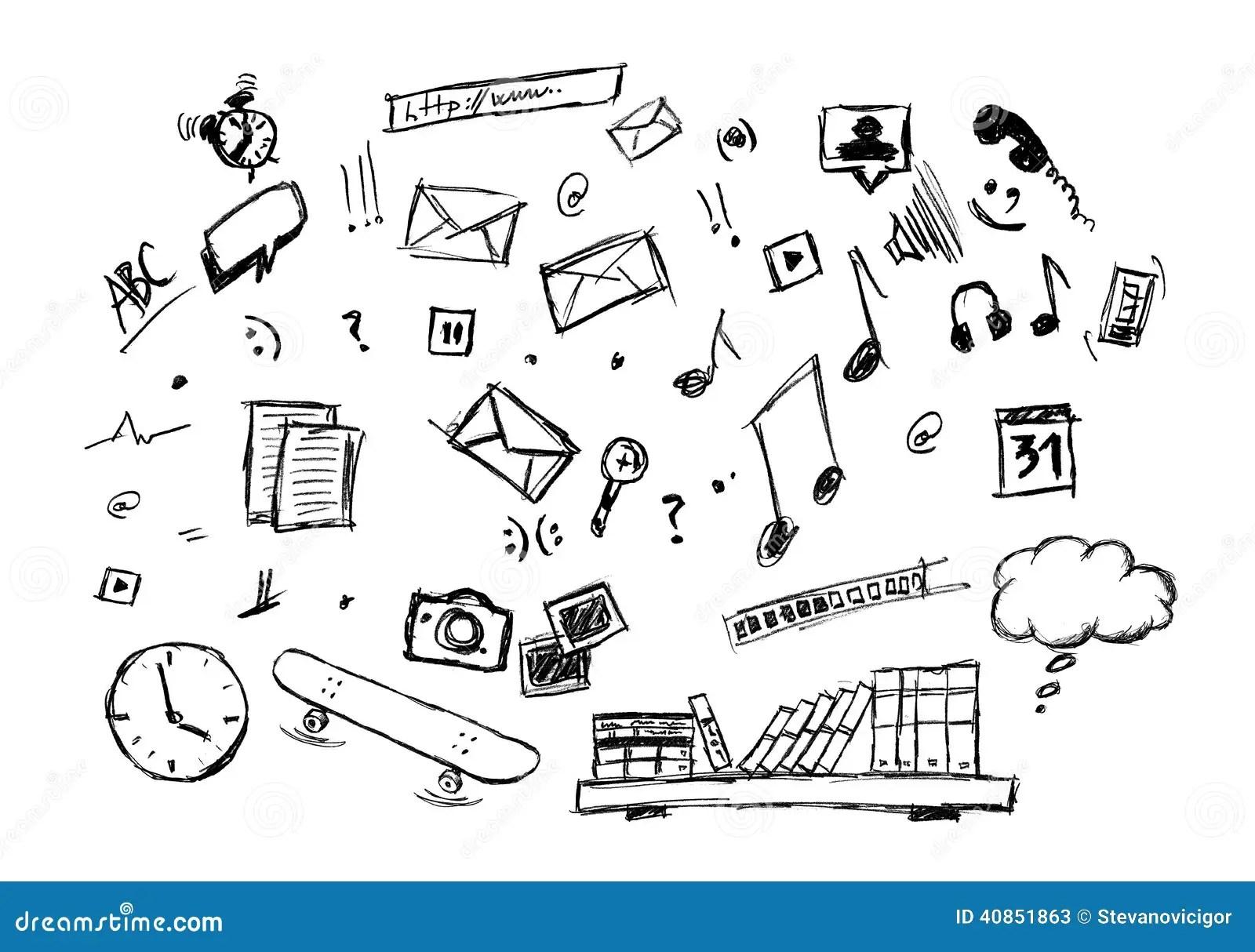 Internet Web Icon Computer Sketchy Doodles Set Cartoon