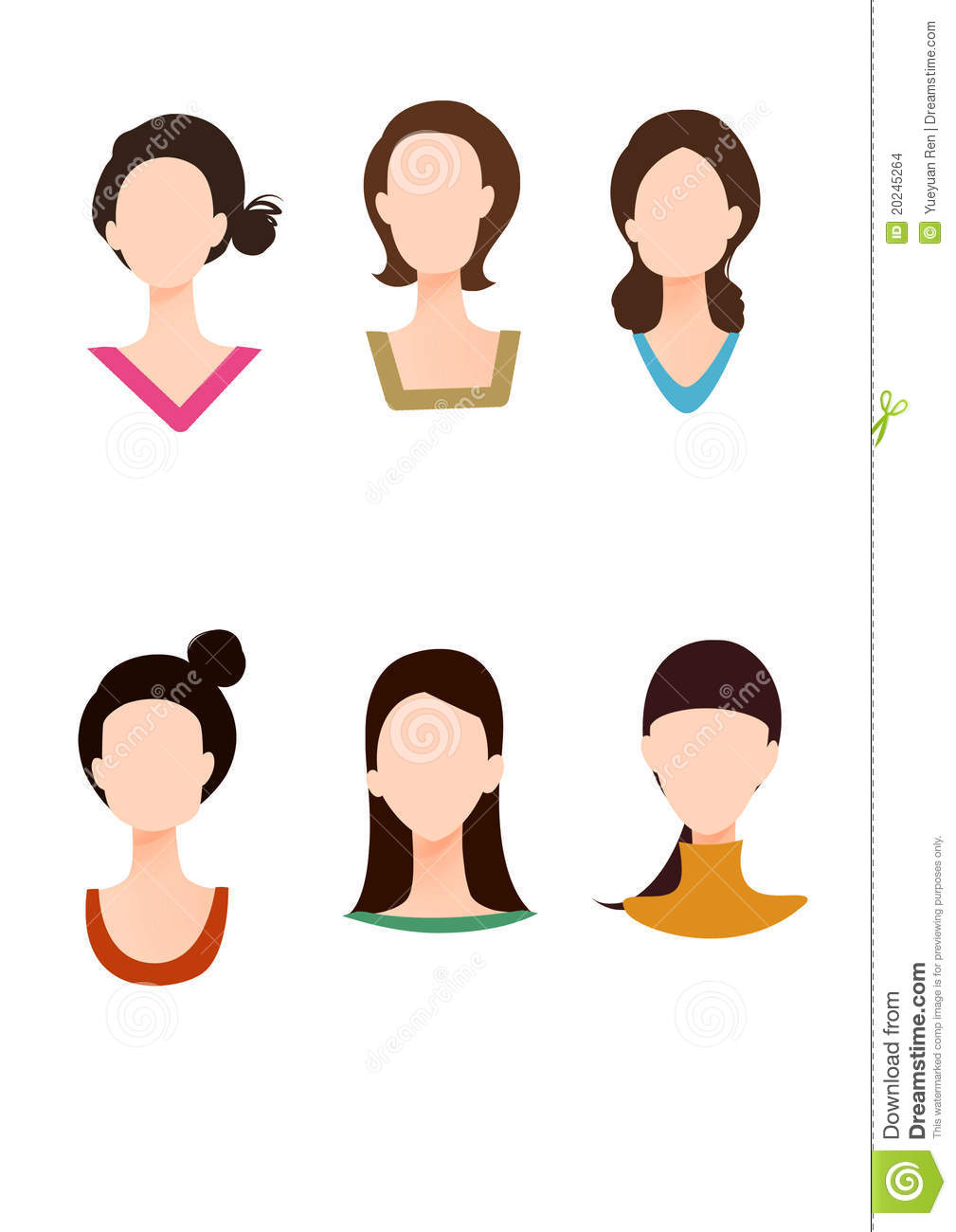 Various Face Shape And Dress Collar Stock Images Image