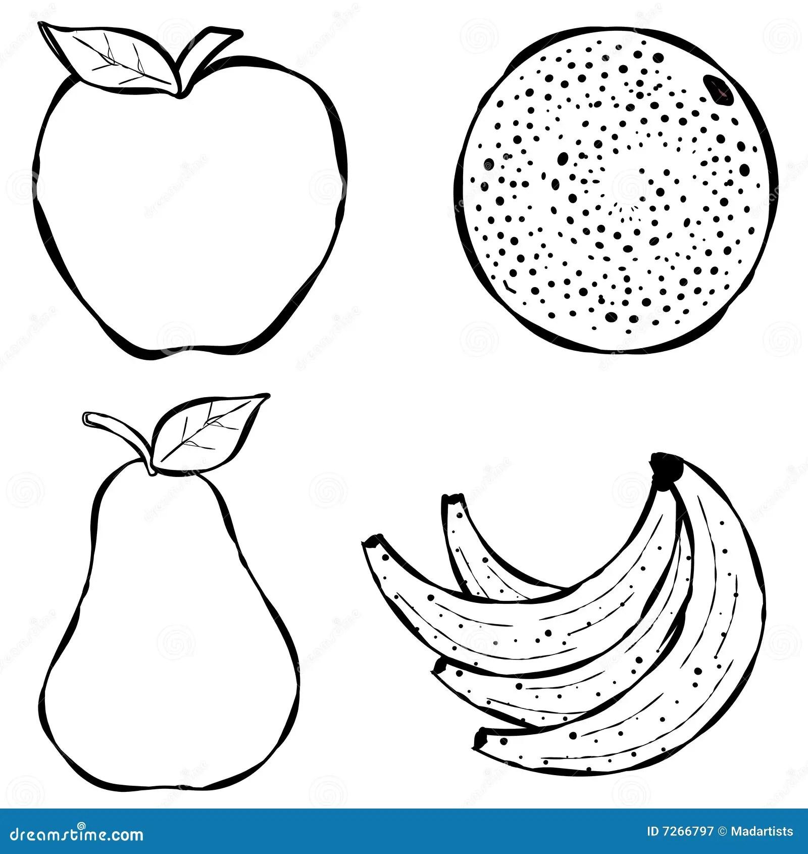 Various Fruit Line Art Stock Illustration Illustration Of