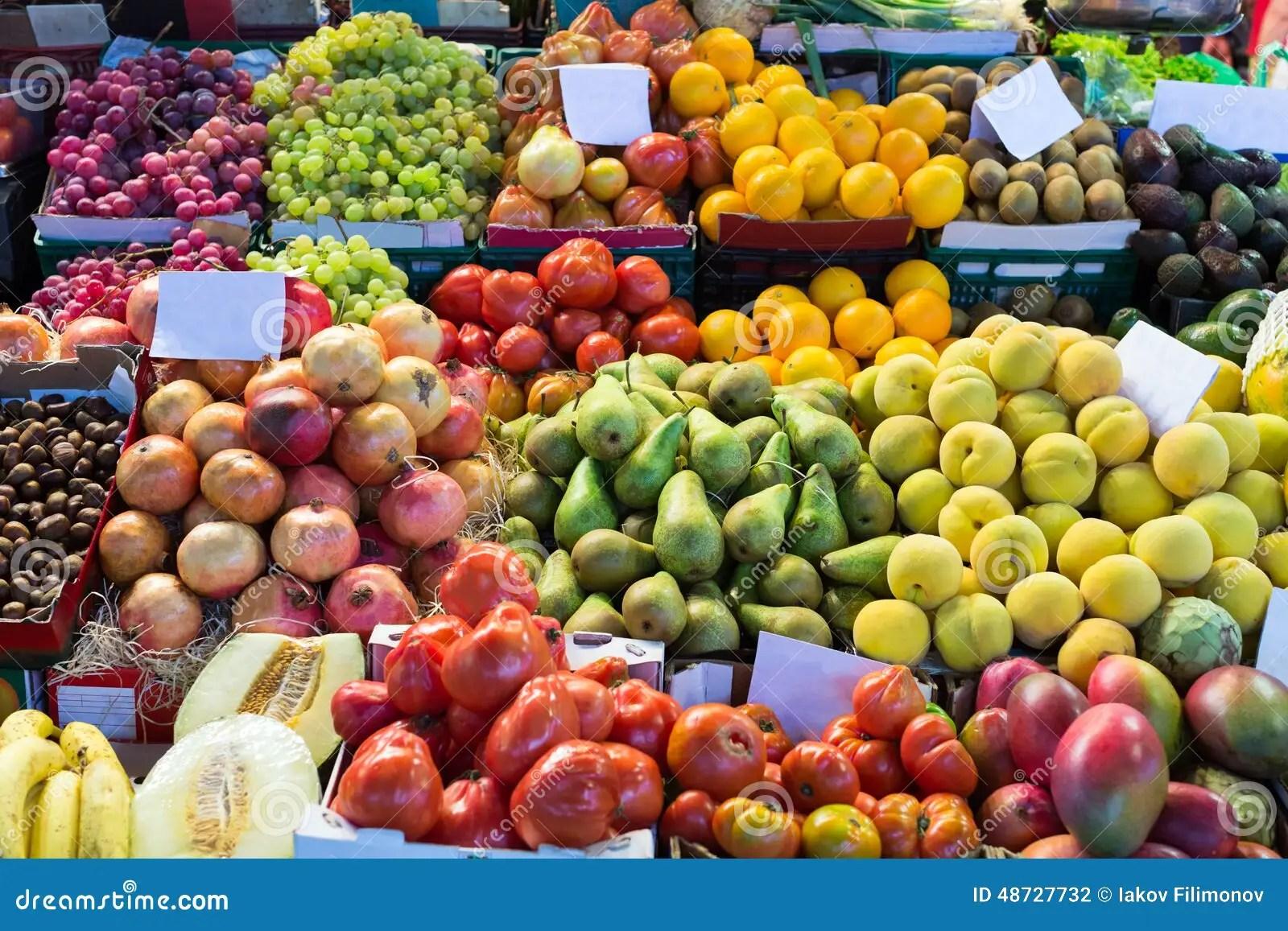 Various Fruits On Spanish Market Stock Photo