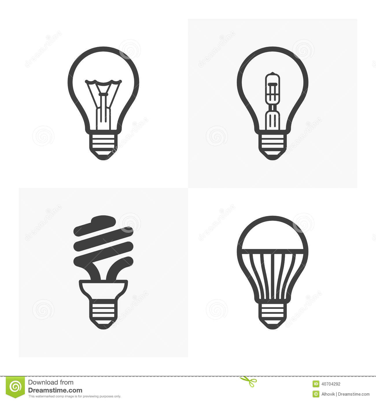 Various Light Bulb Icons Stock Vector