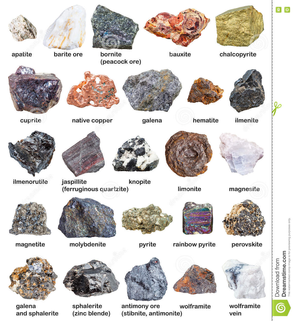 Various Raw Minerals And Ores With Names Isolated Stock