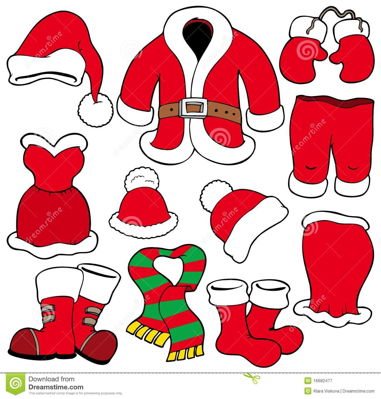 Various Santa Claus Clothes Stock Vector