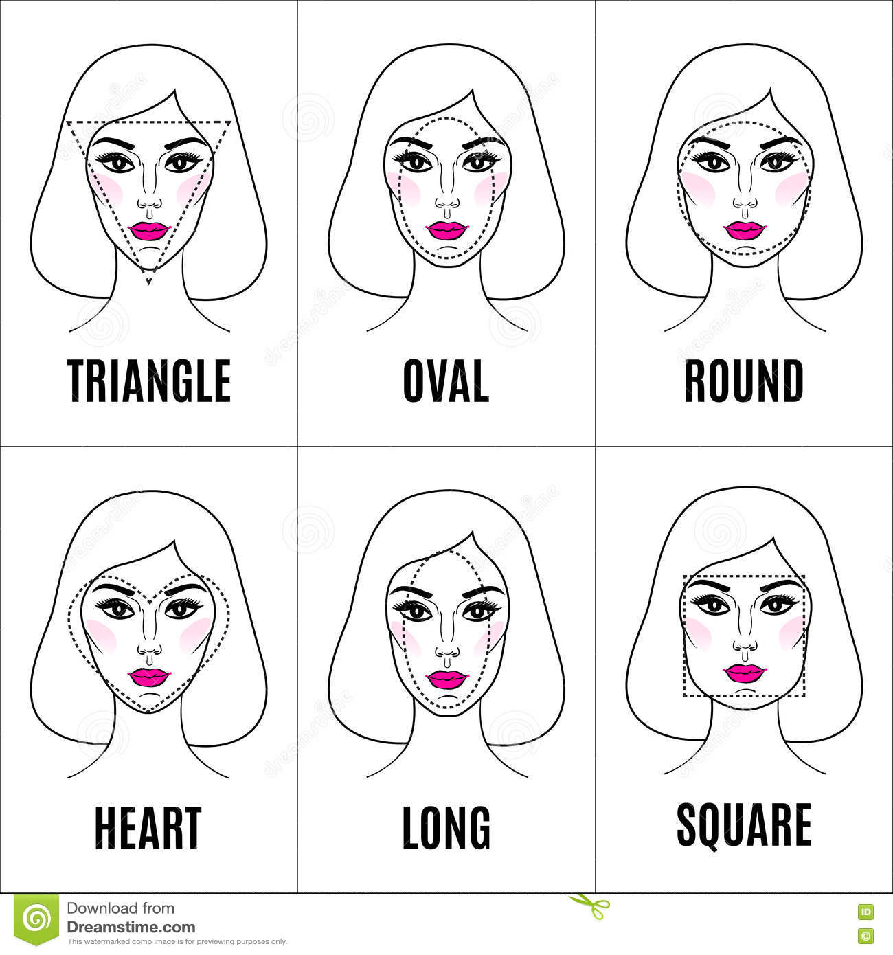 Various Types Of Female Faces Set Of Different Face