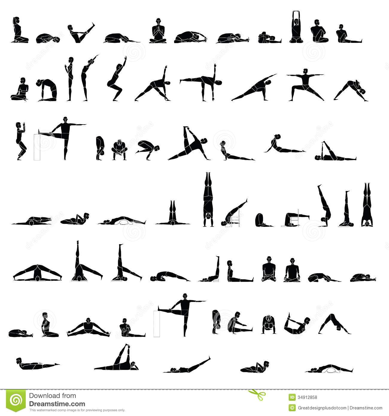 Various Yoga And Stretching Poses Royalty Free Stock