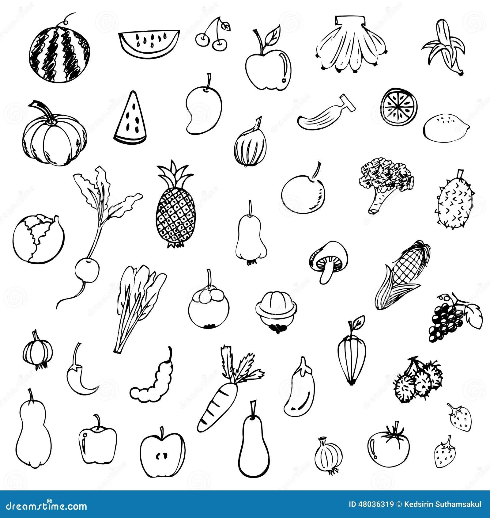 Vecteur De Croquis De Fruits Et Legumes Dans Le