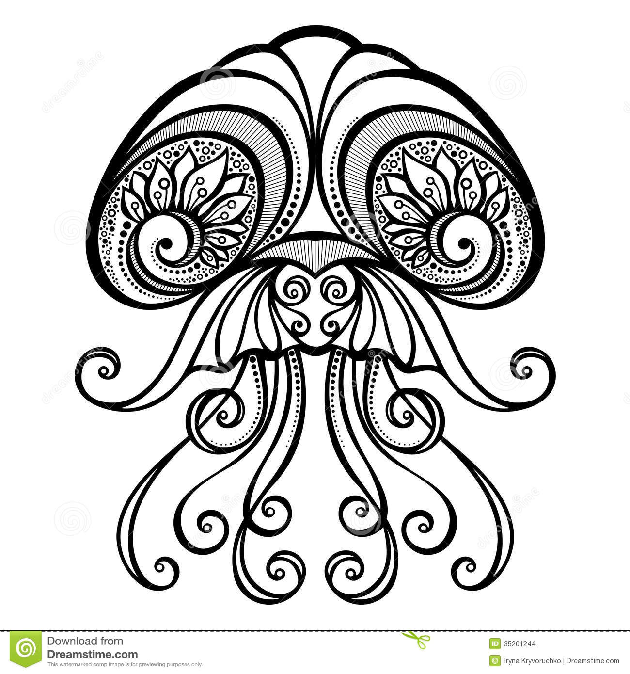Vector Abstract Sea Jellyfish Stock Images