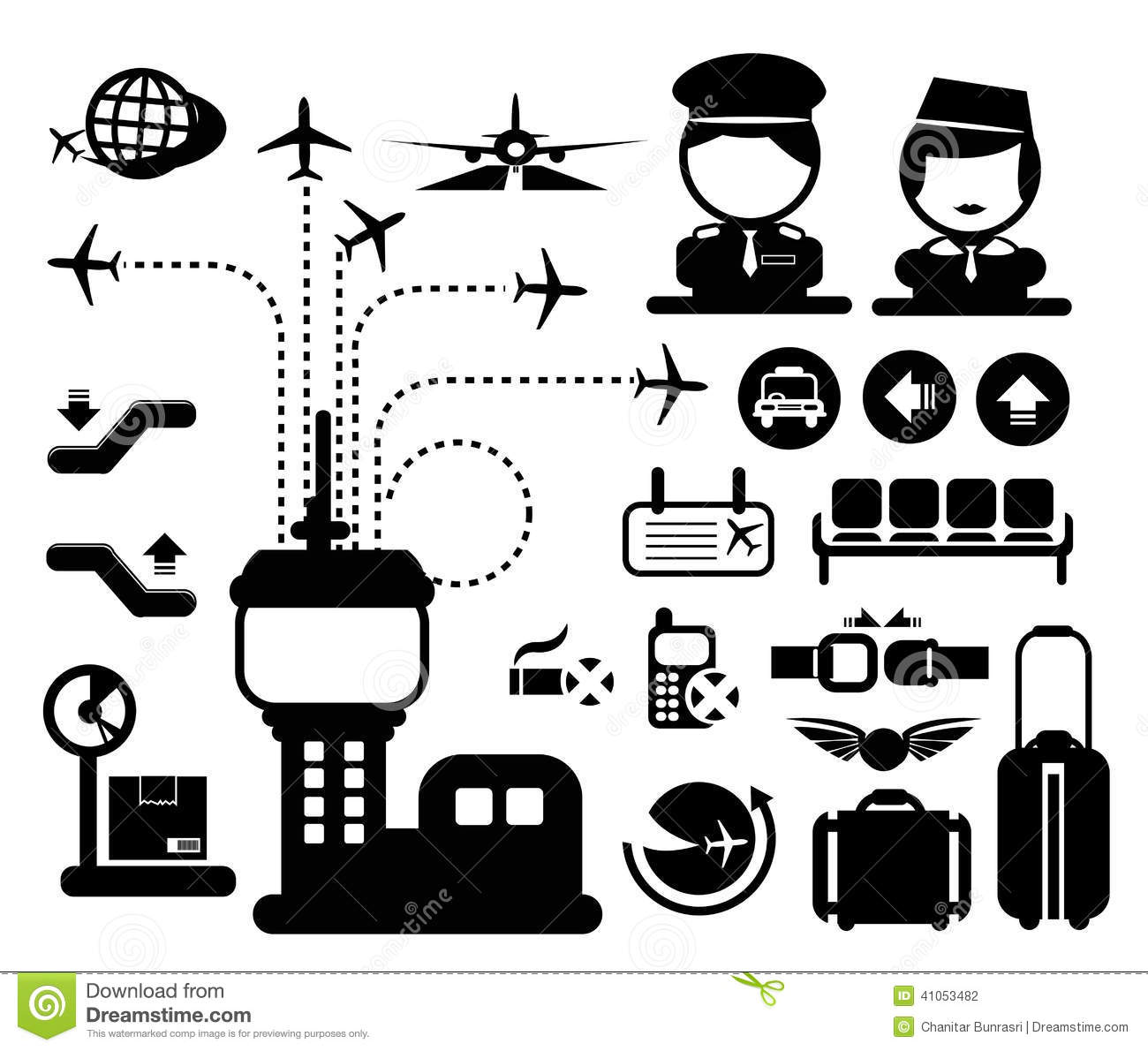 Vector Airport Icon Stock Vector Illustration Of