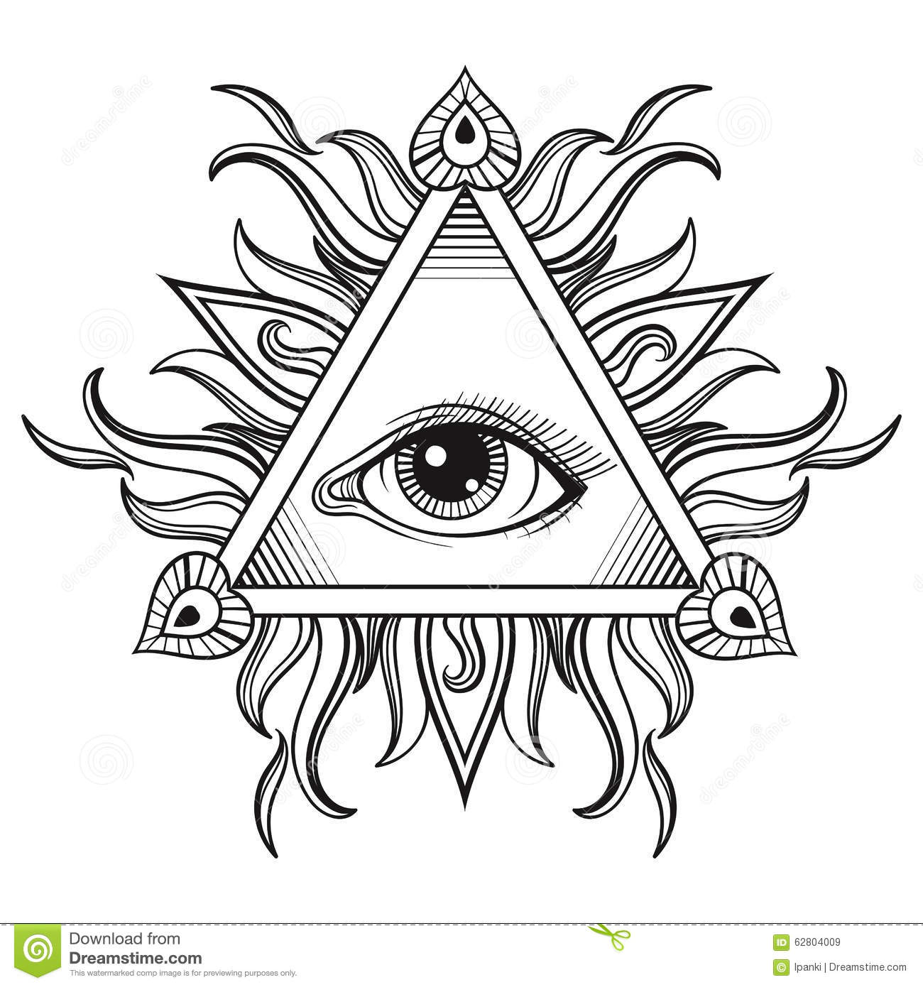 Vector All Seeing Eye Pyramid Symbol In Tattoo Engraving