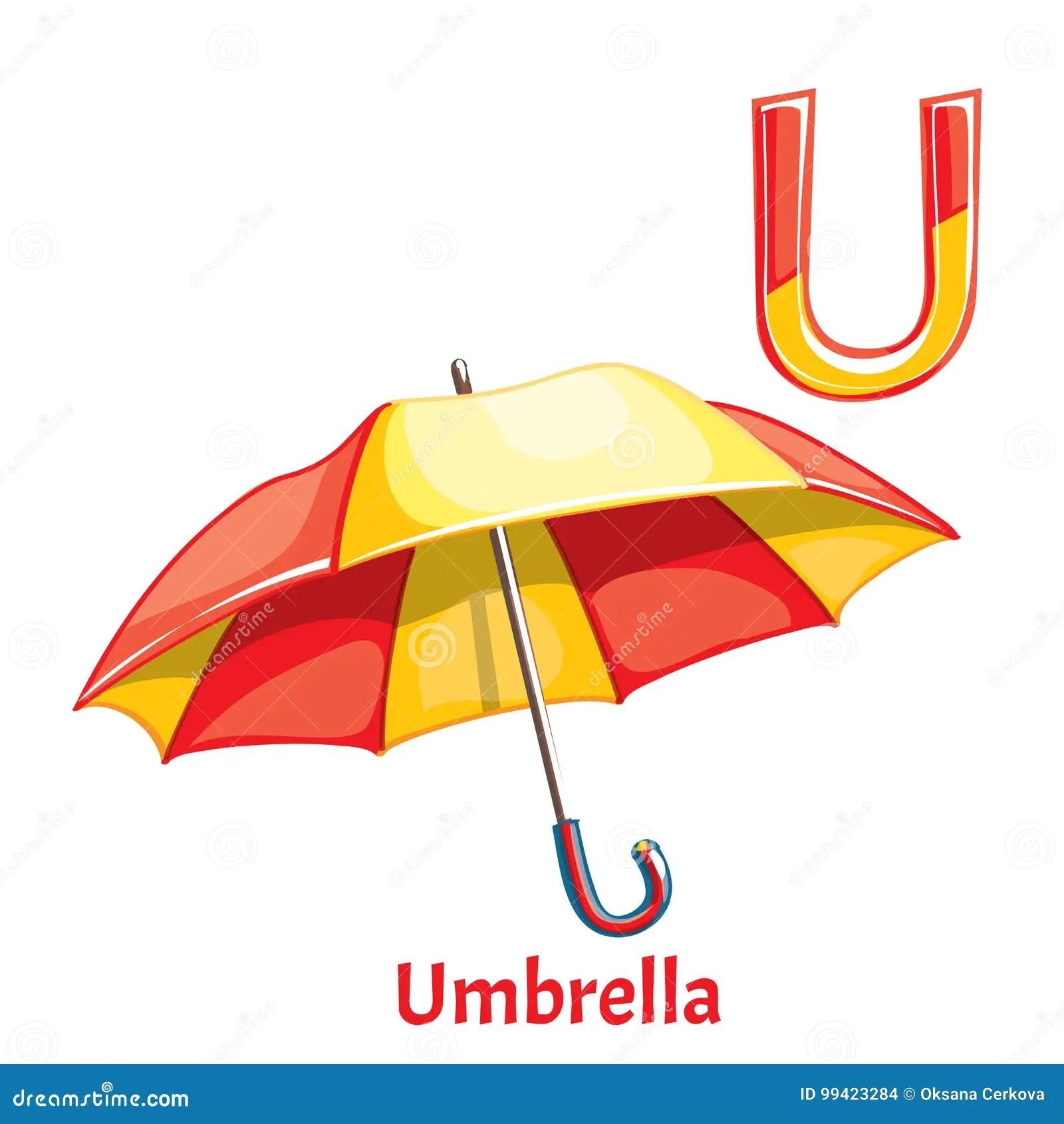 Vector Alphabet Letter U Umbrella Stock Vector