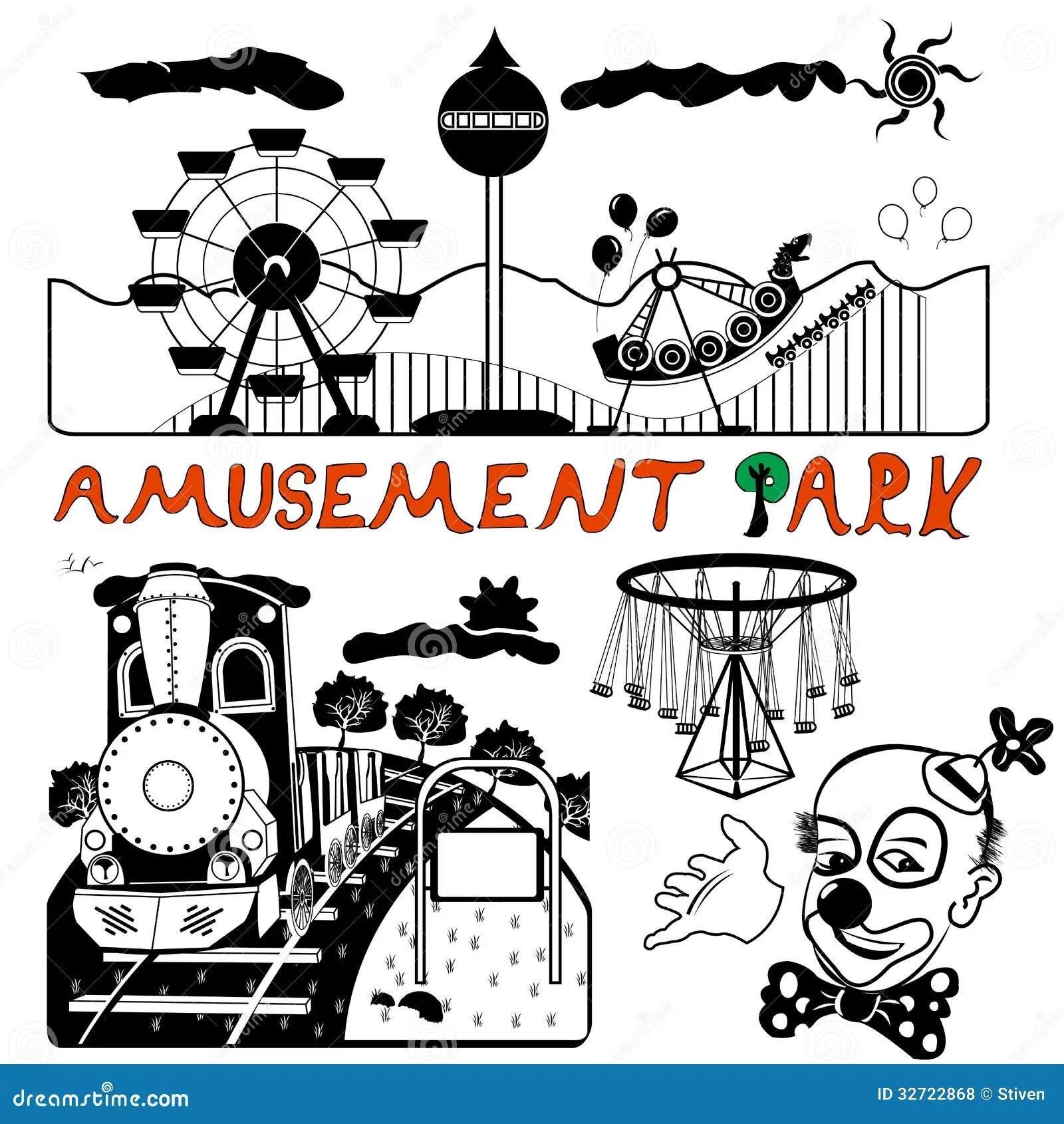 Vector Amusement Park Stock Vector Illustration Of Action