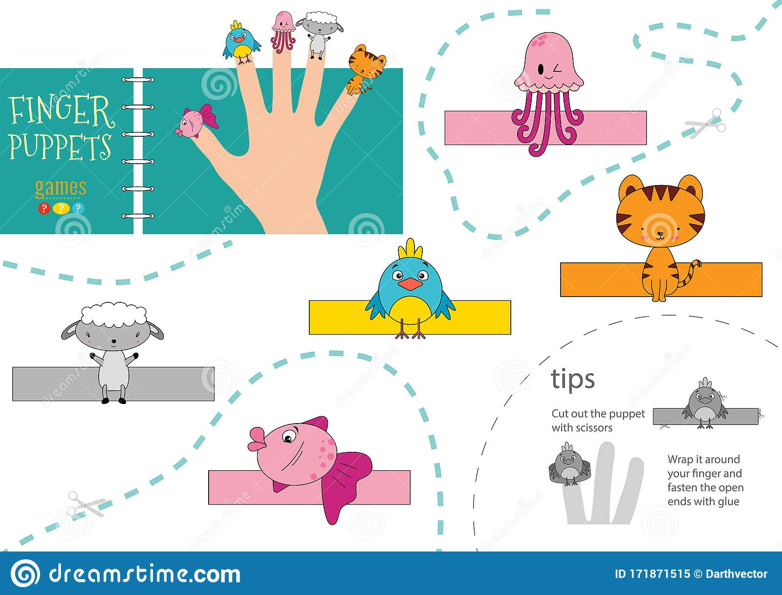 Vector Animals As Finger Puppets Cut And Glue Activity