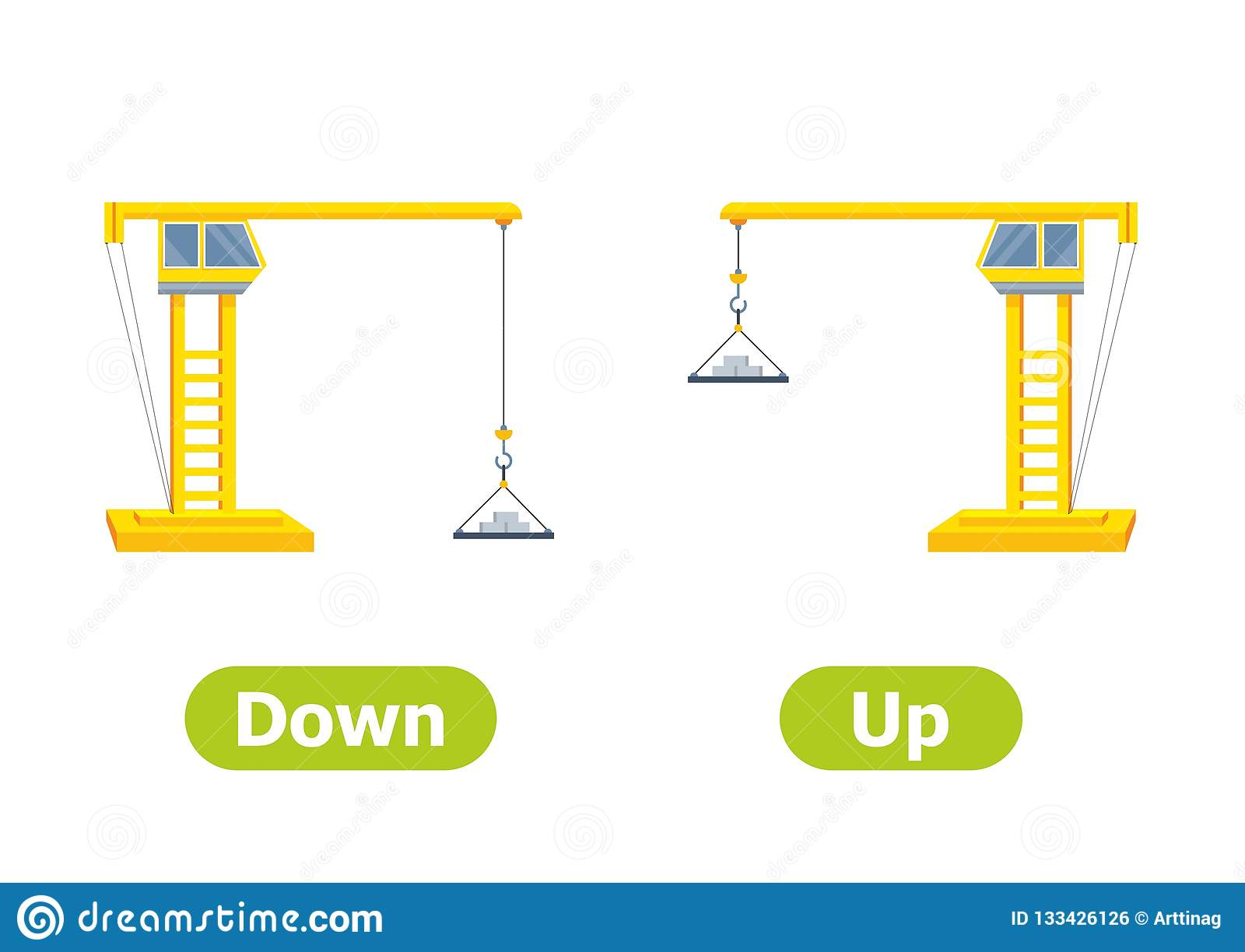 Vector Antonyms And Opposites Down And Up Stock