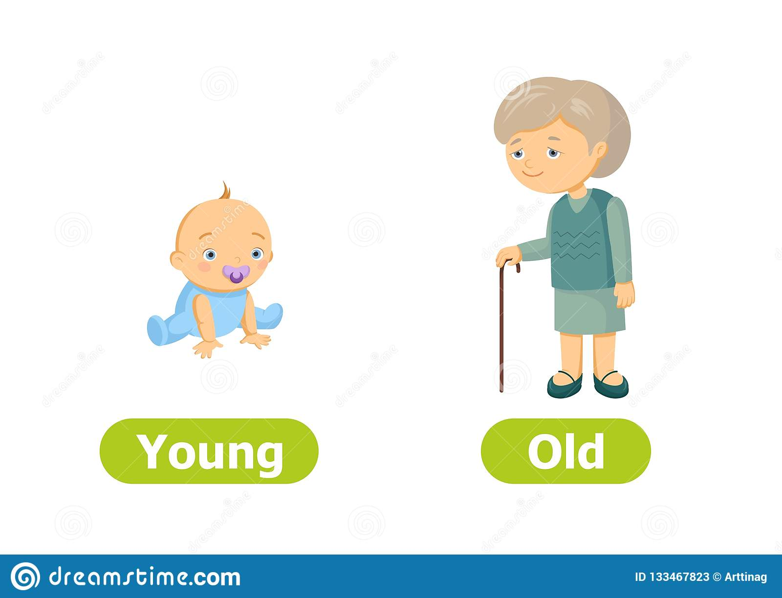 Vector Antonyms And Opposites Young And Old Stock