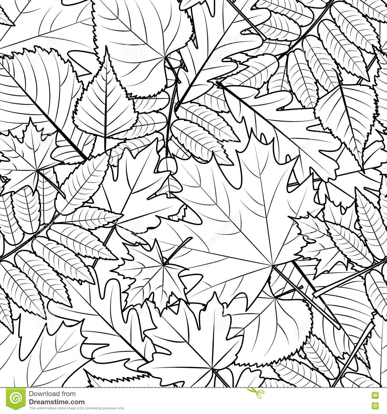 vector autumn leaves seamless pattern black and white
