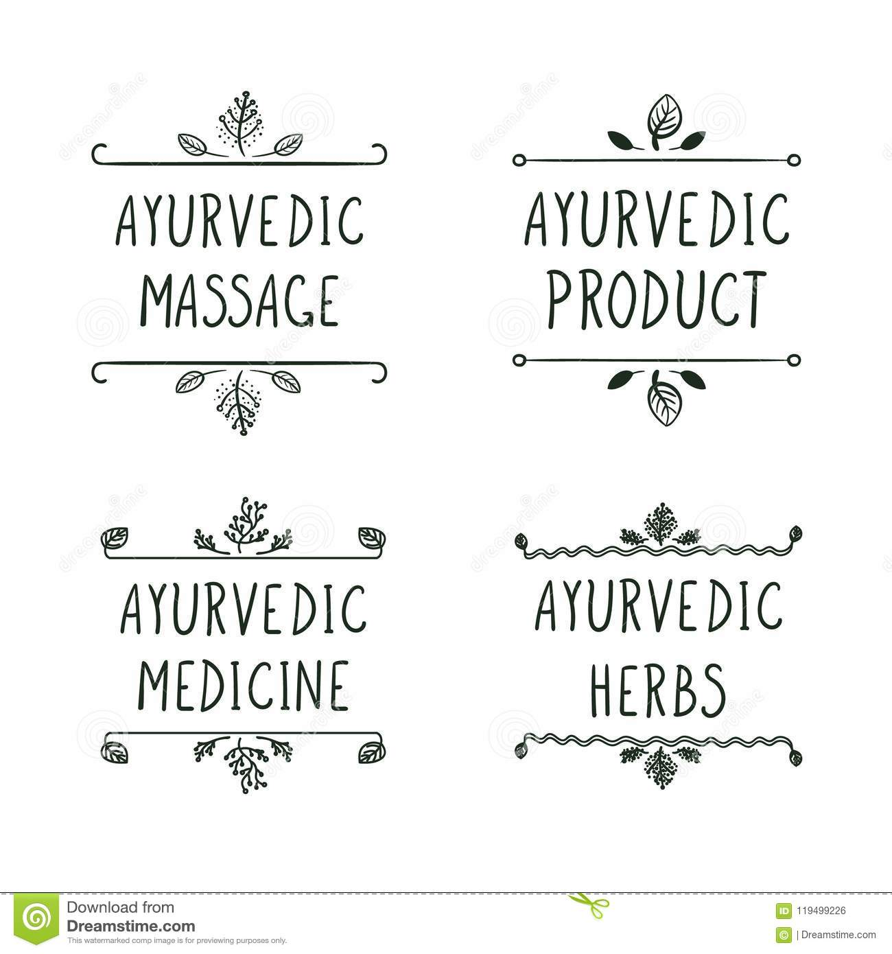 Ayurveda Vector Elements And Doshas With Text Isolated On