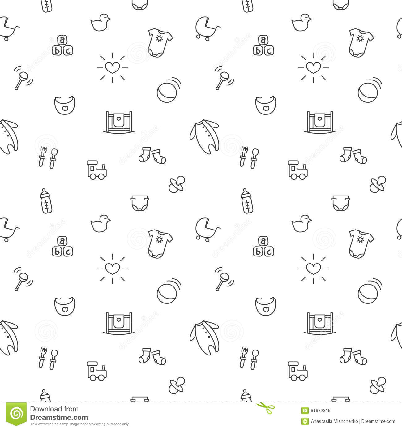 Vector Baby Or Pregnancy Seamless Pattern Newborn Stock