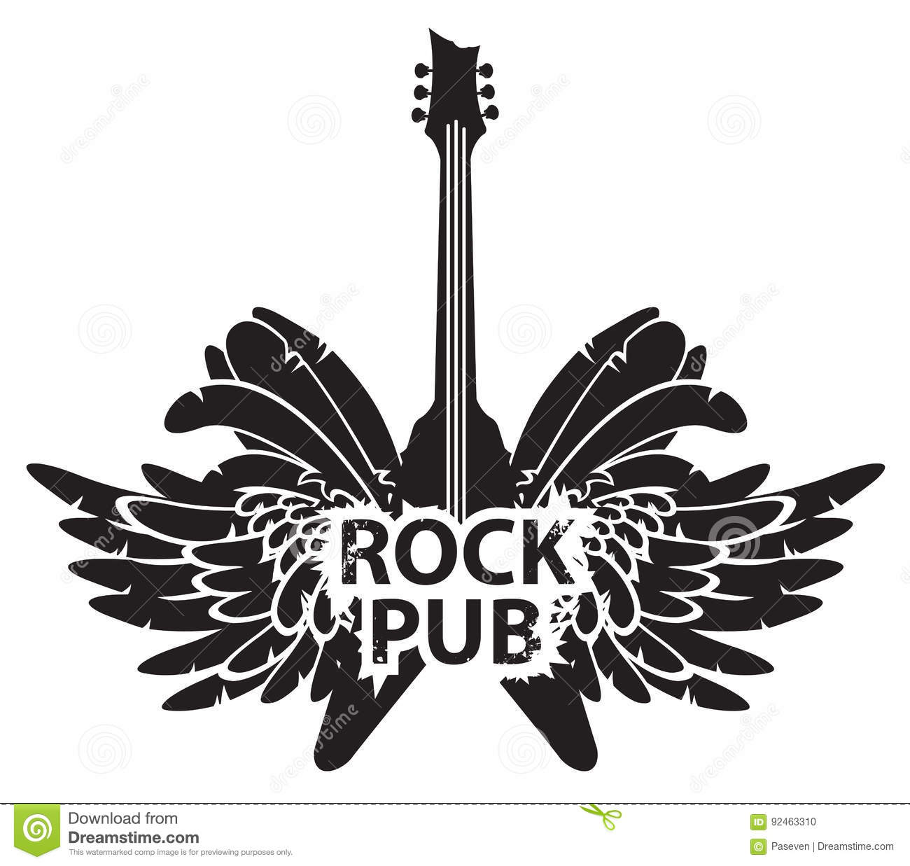 Rock Music Symbol Electric Guitar With Wings Musical