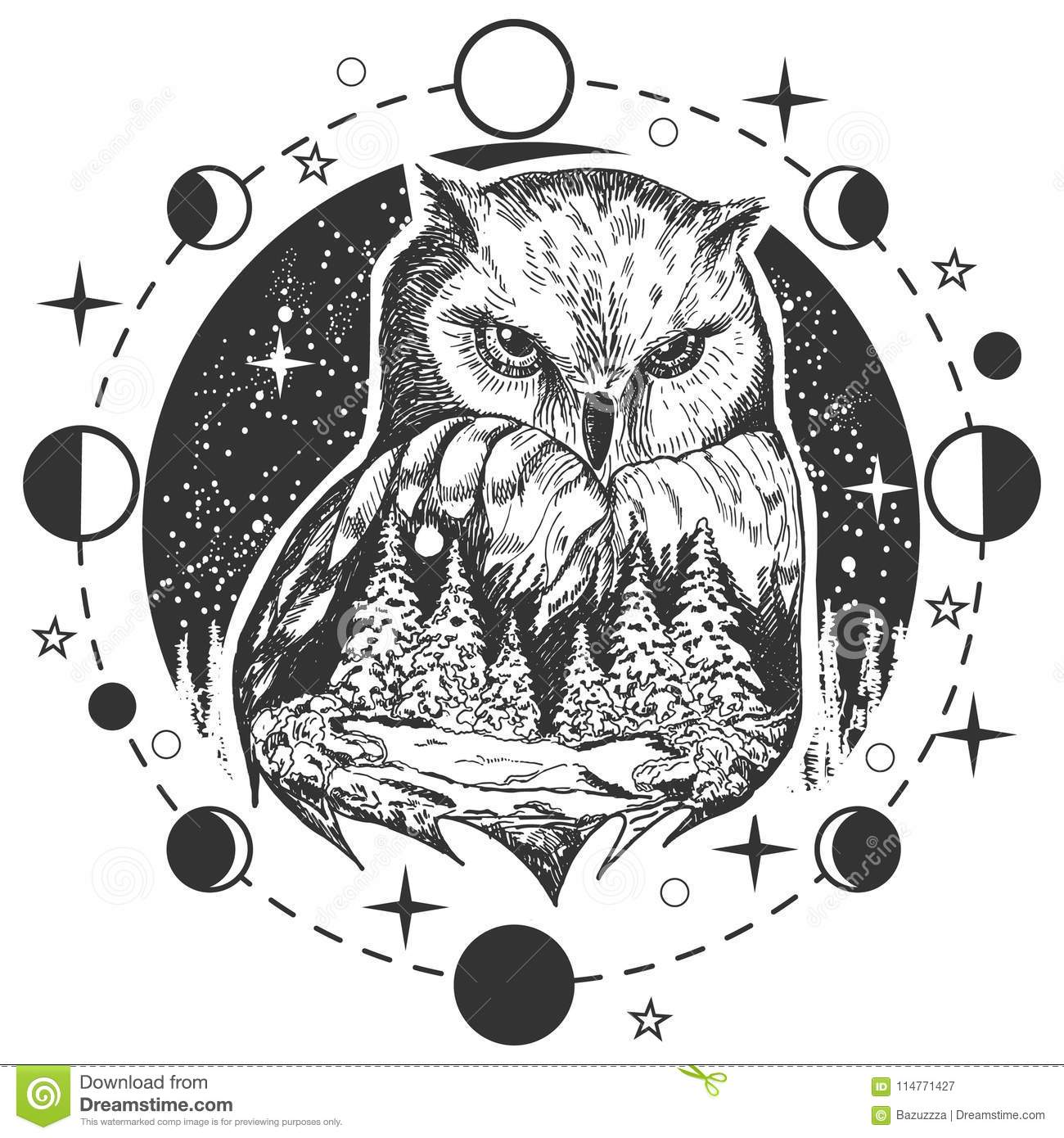 Vector Owl Tattoo Or T Shirt Print Design Stock Vector