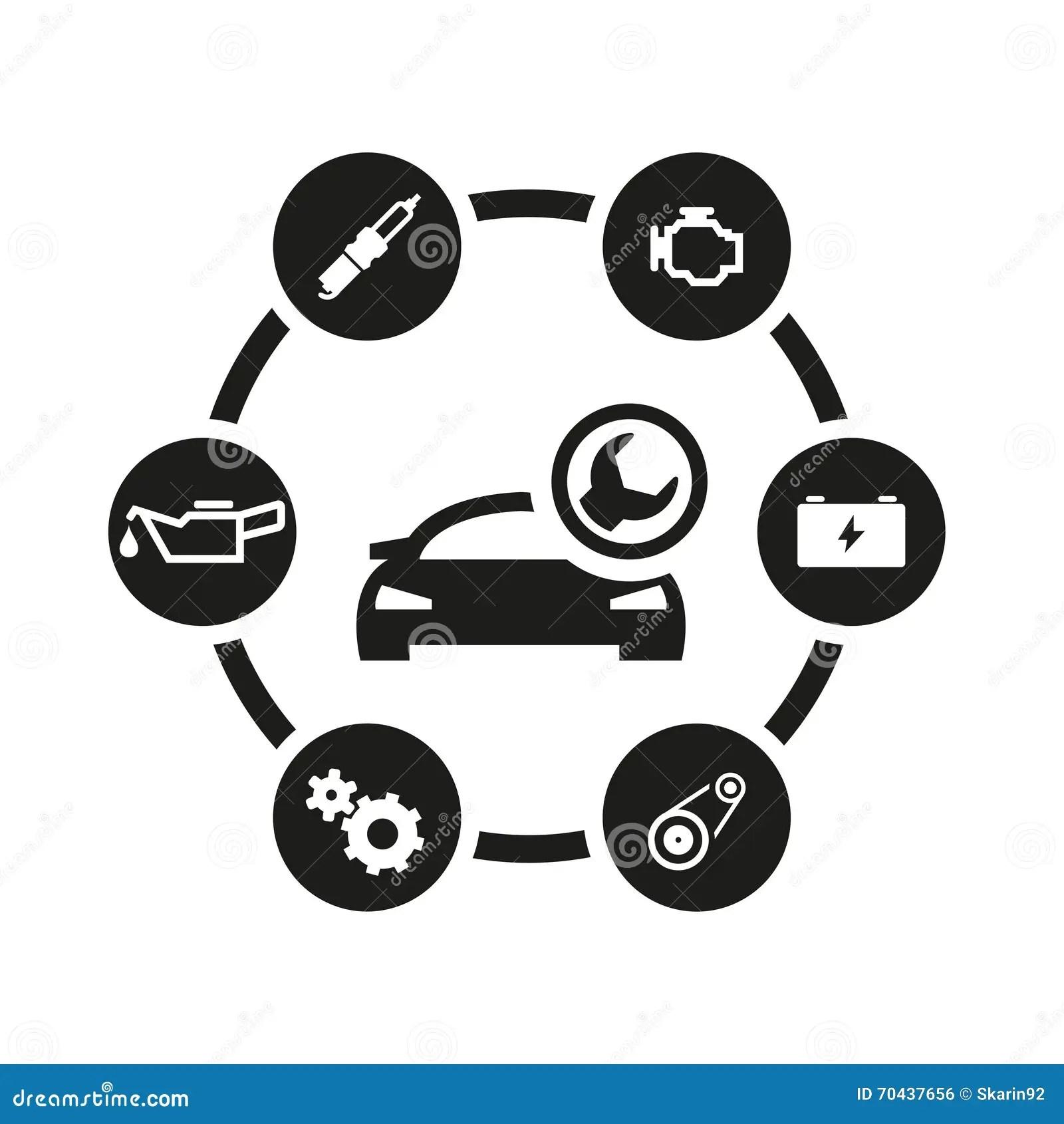 Vector Black Car Service Icon Set Stock Illustration