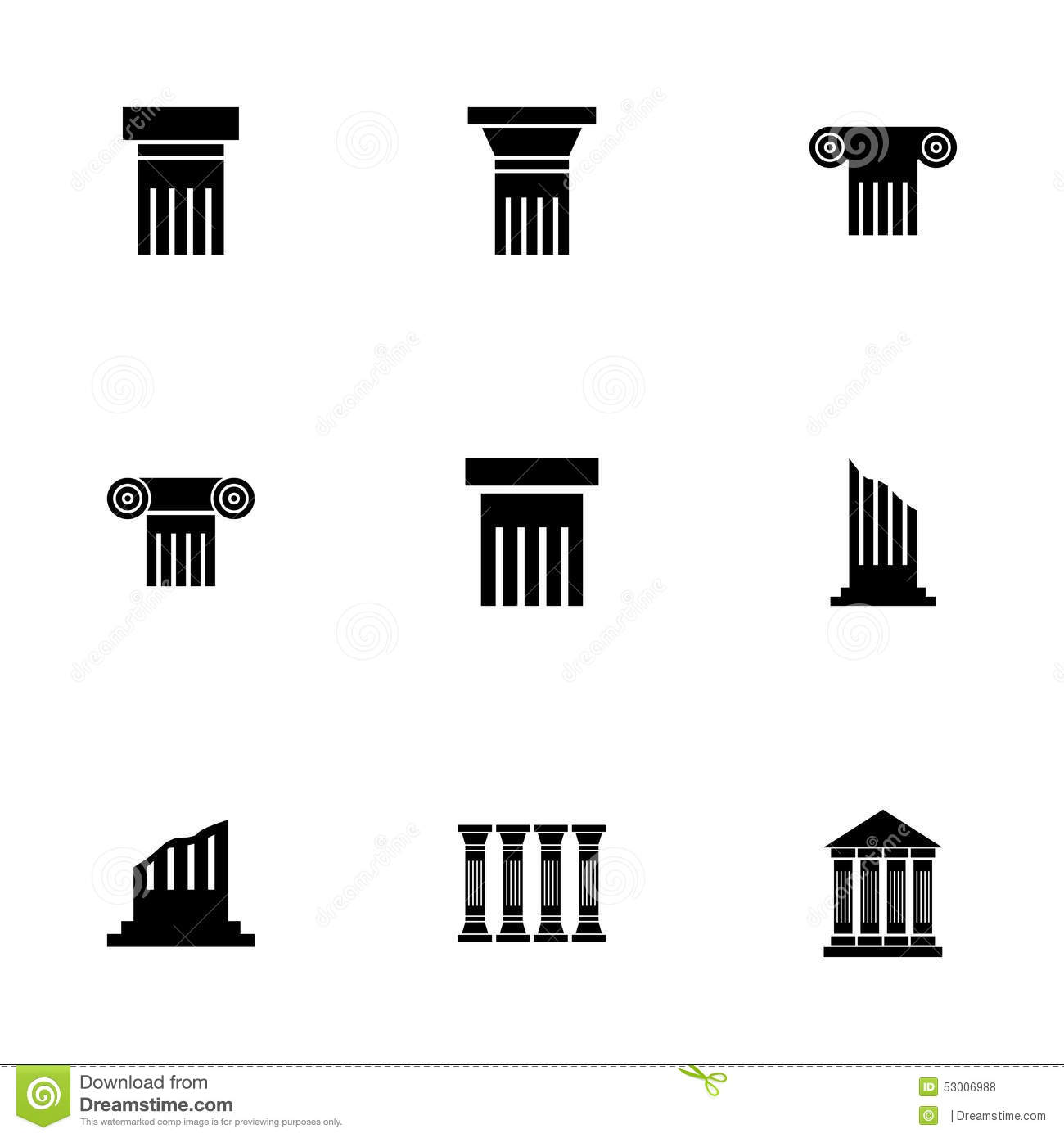 Vector Black Column Icons Set Vector Illustration