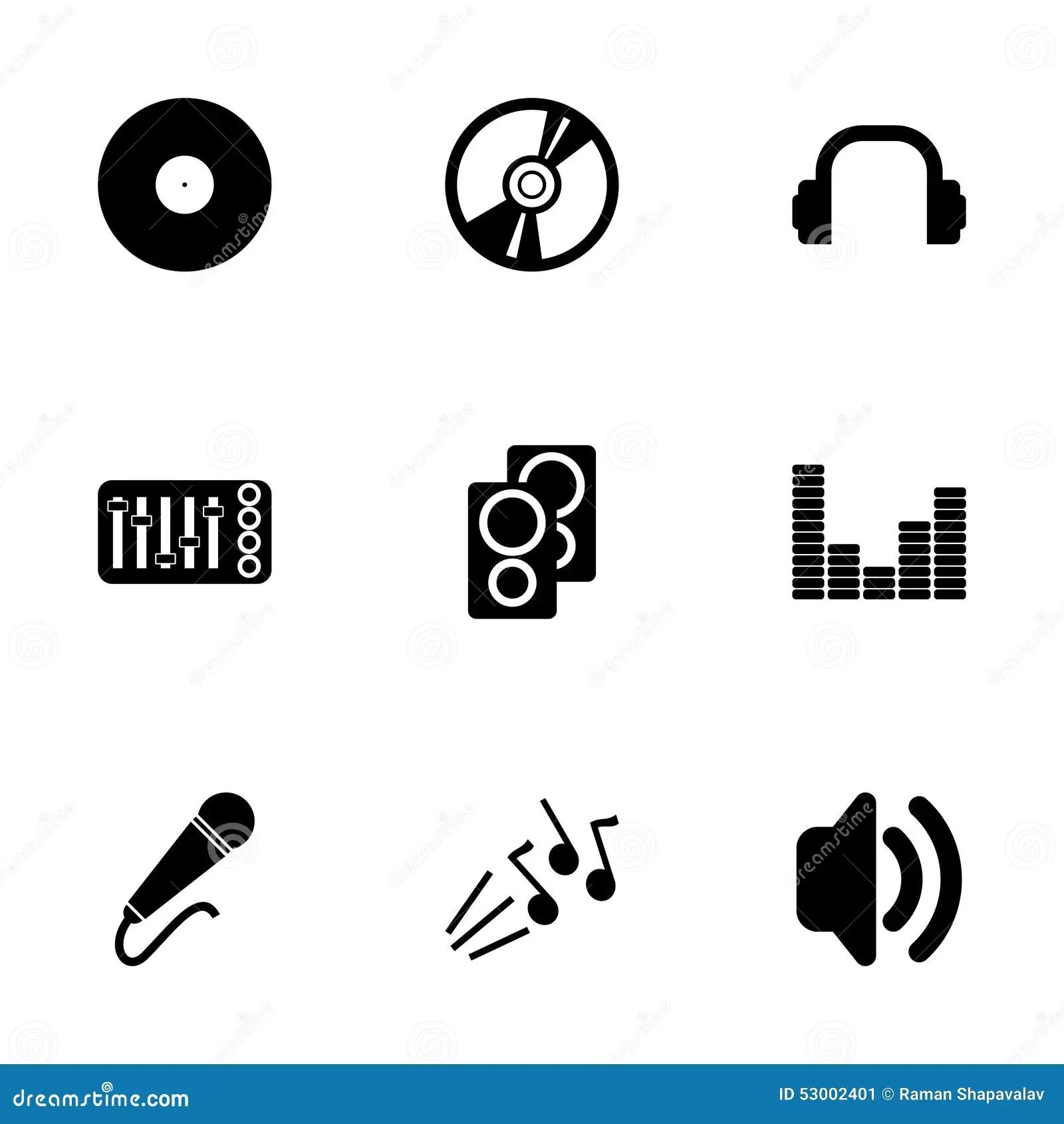 Vector Black Dj Icon Set Stock Vector Image Of Radio