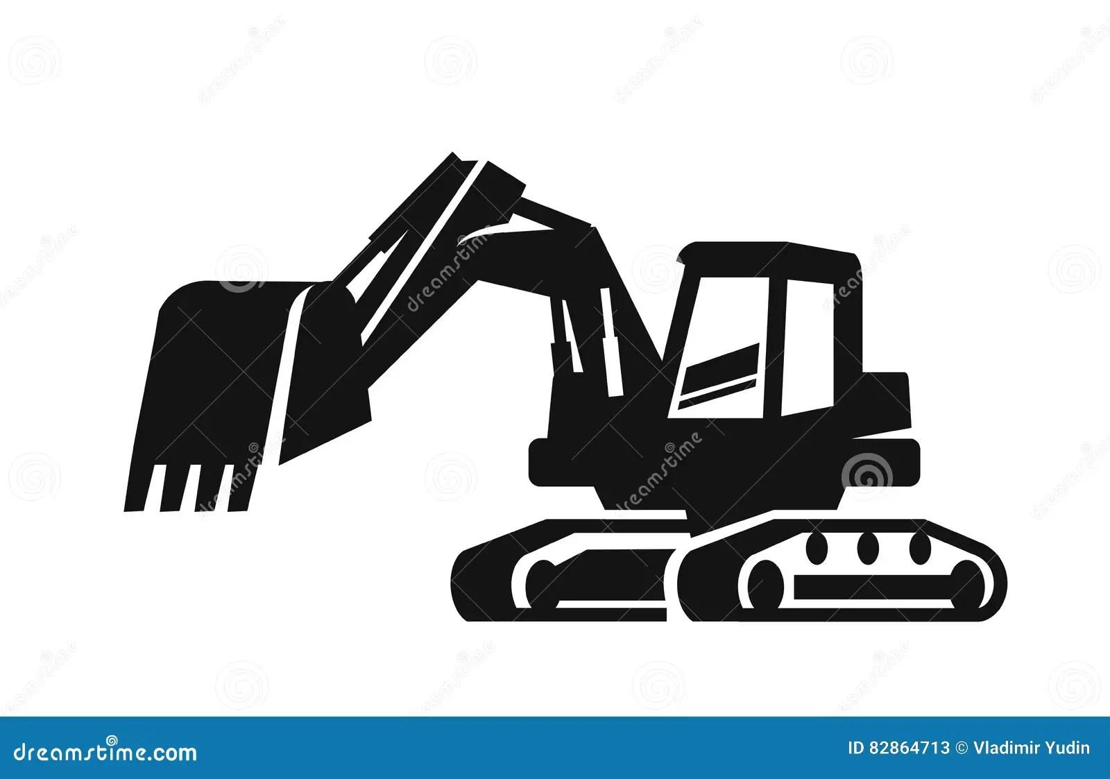 Vector Black Excavator Stock Vector Illustration Of