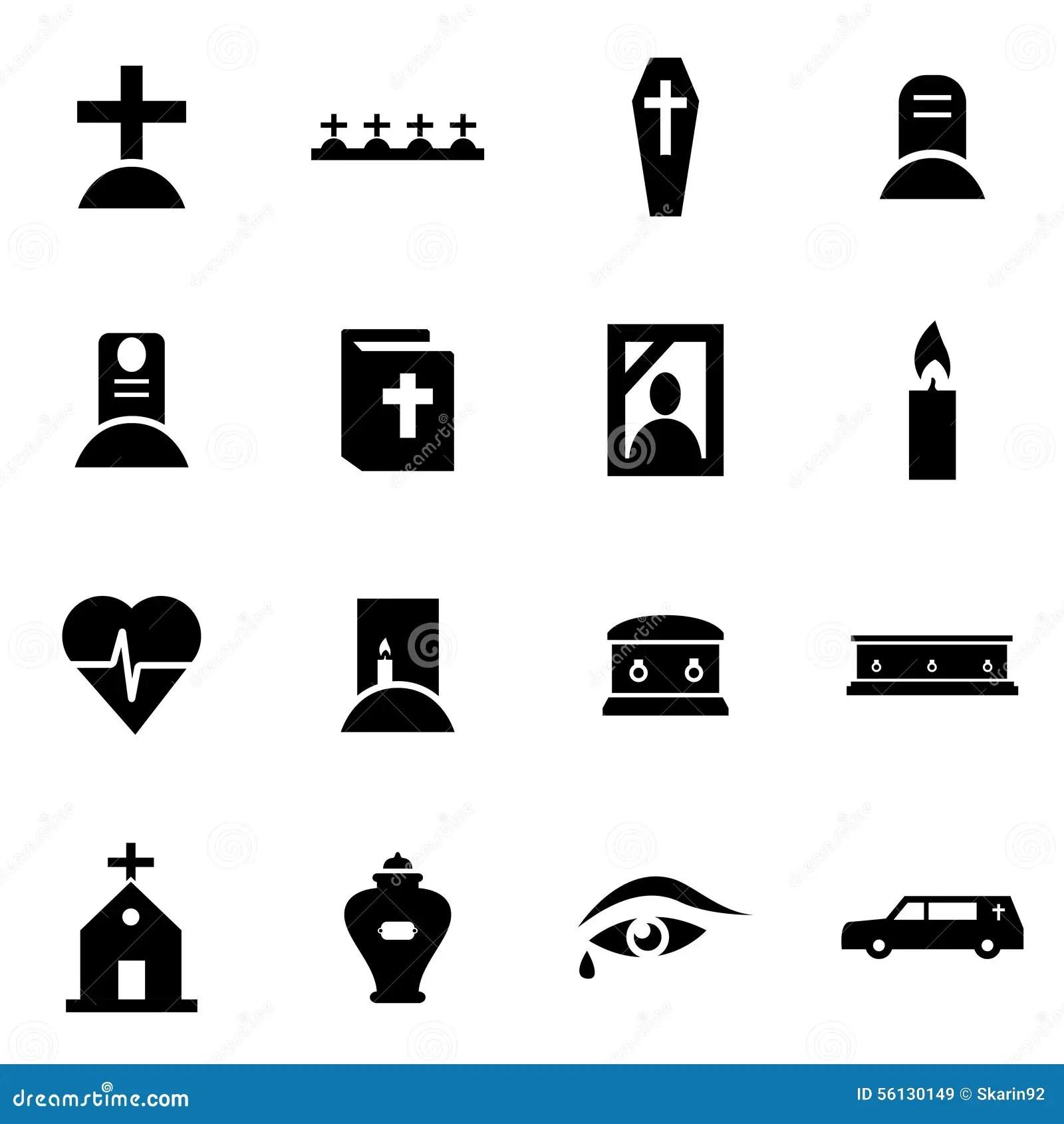 Vector Black Funeral Icon Set Stock Vector