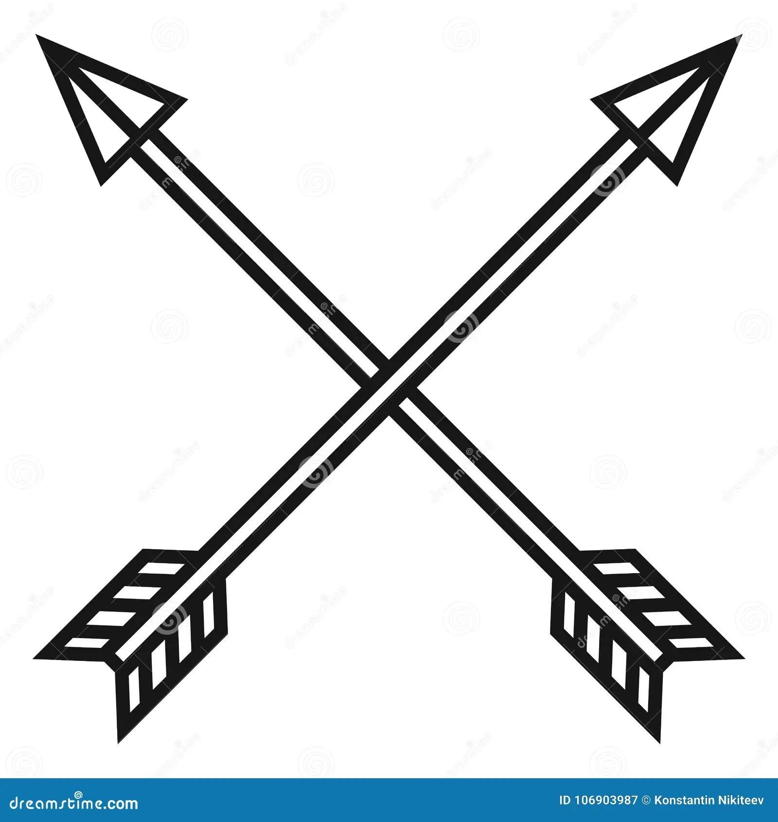 Vector Black Me Val Icon Of Crossed Arrows Stock