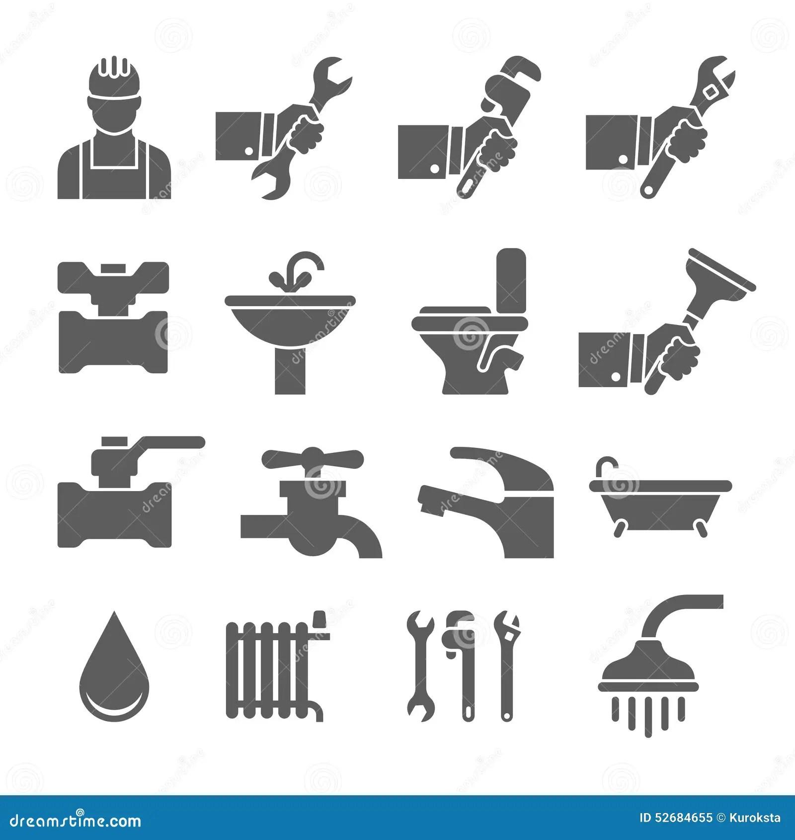 Vector Black Plumbing Icons Set Stock Illustration
