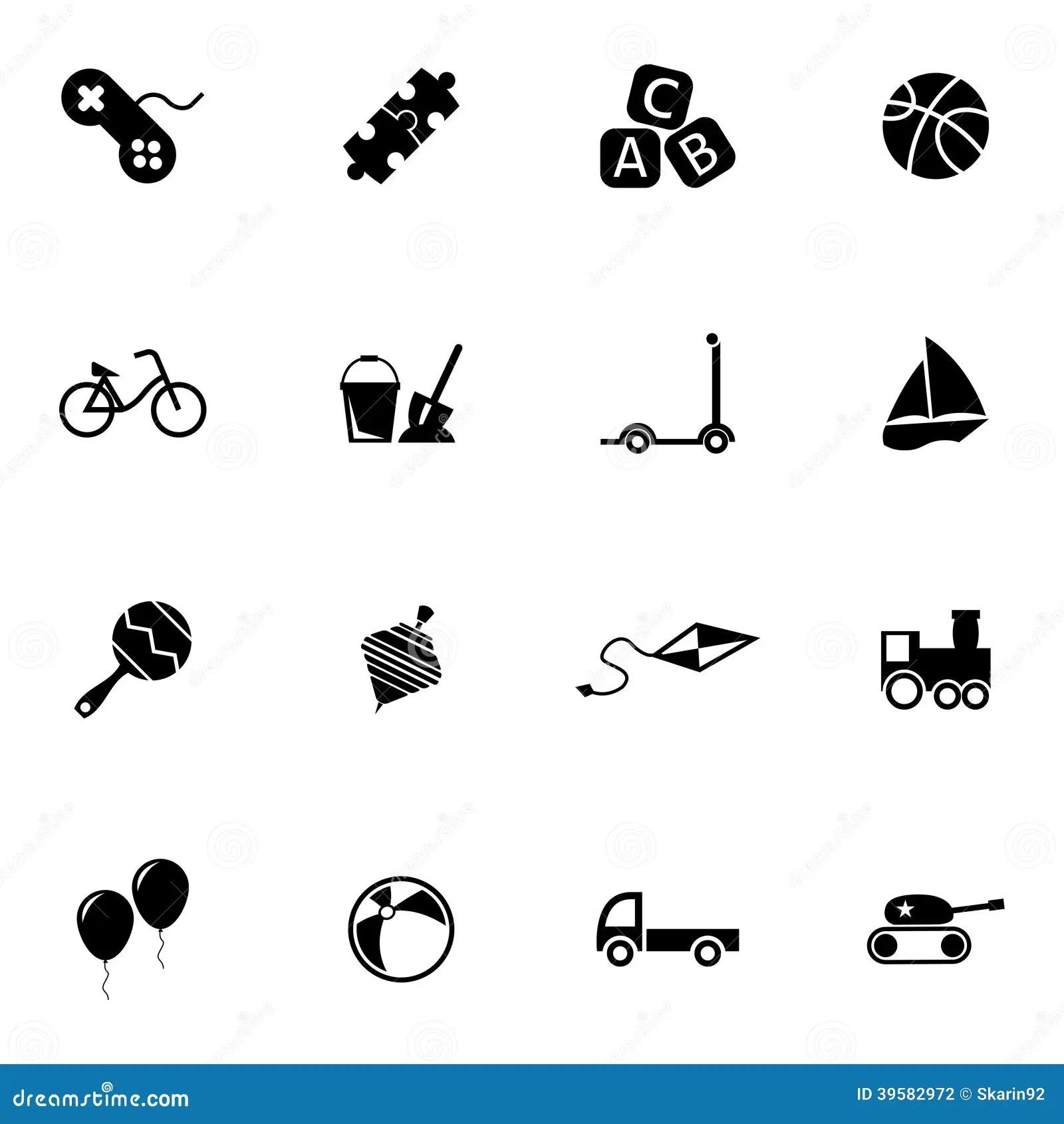 Vector Black Toys Icons Set Stock Vector