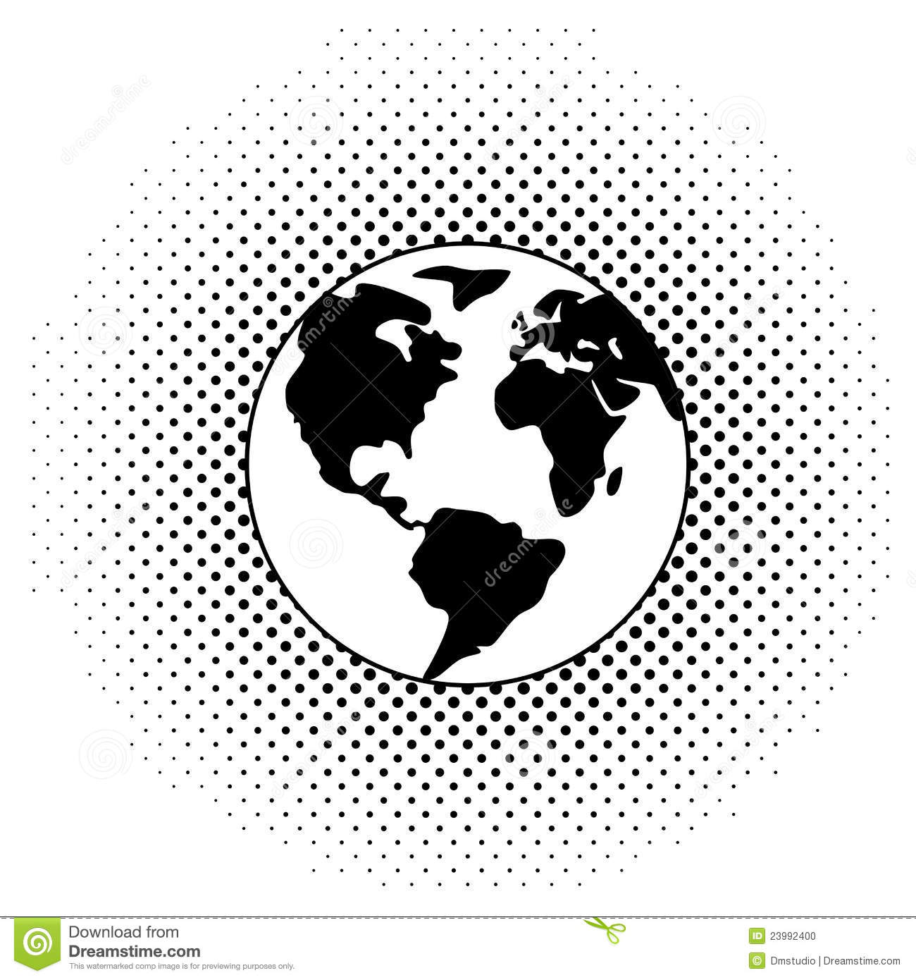 Vector Black And White Earth Globe Stock Photo