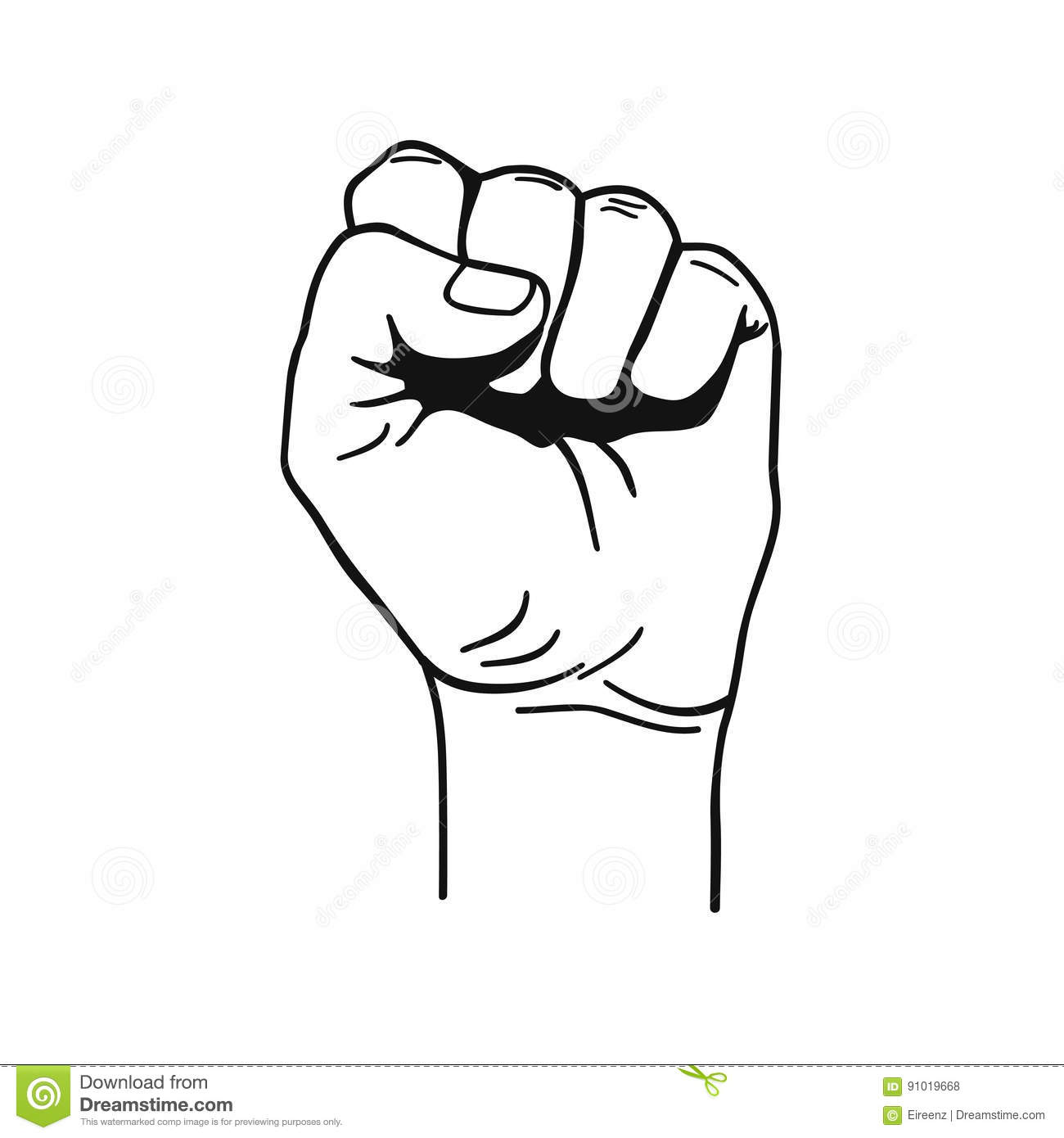 Vector Black And White Illustration Of Clenched Fist Held