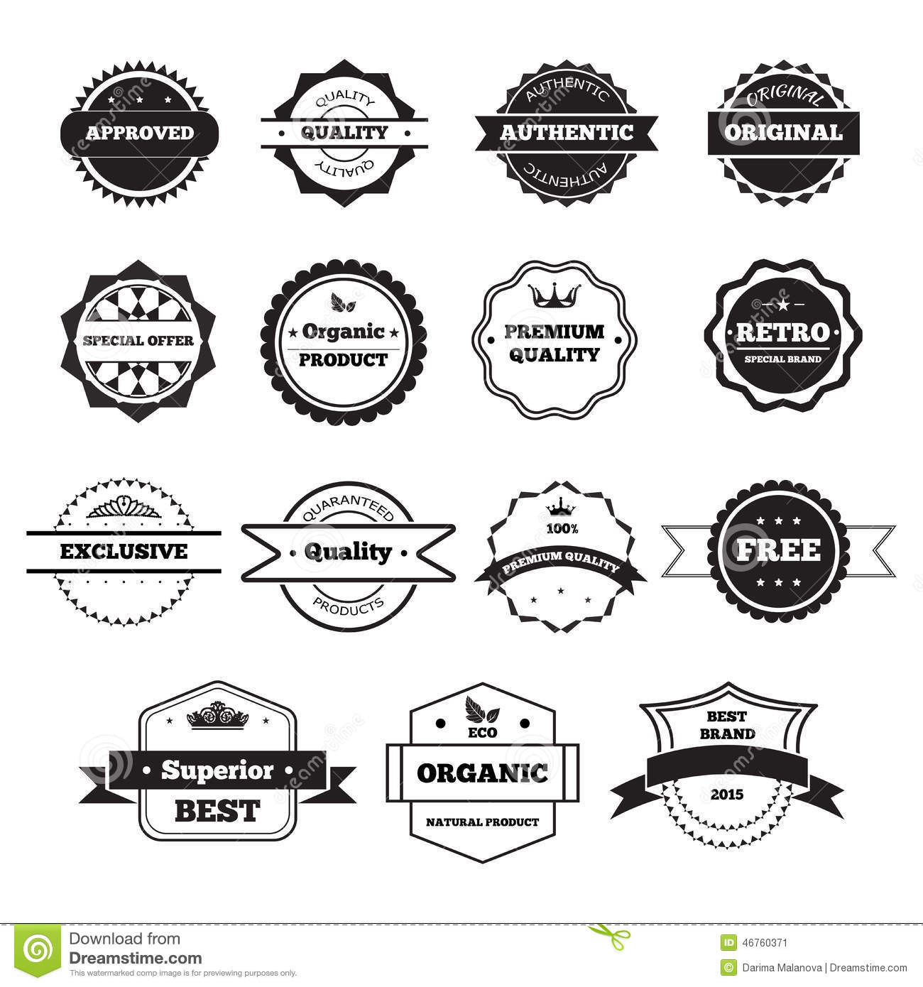 Vector Black And White Retro Stamps And Badges Stock