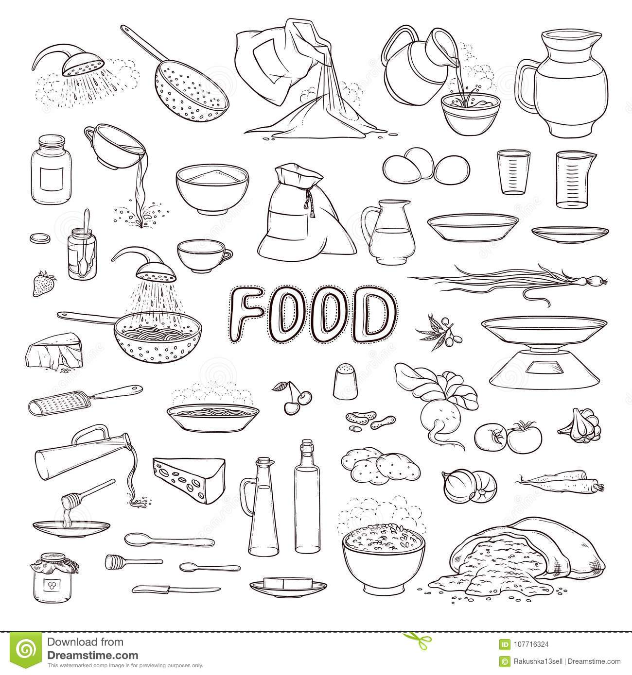 Vector Black And White Sketch Collection Set Food Products