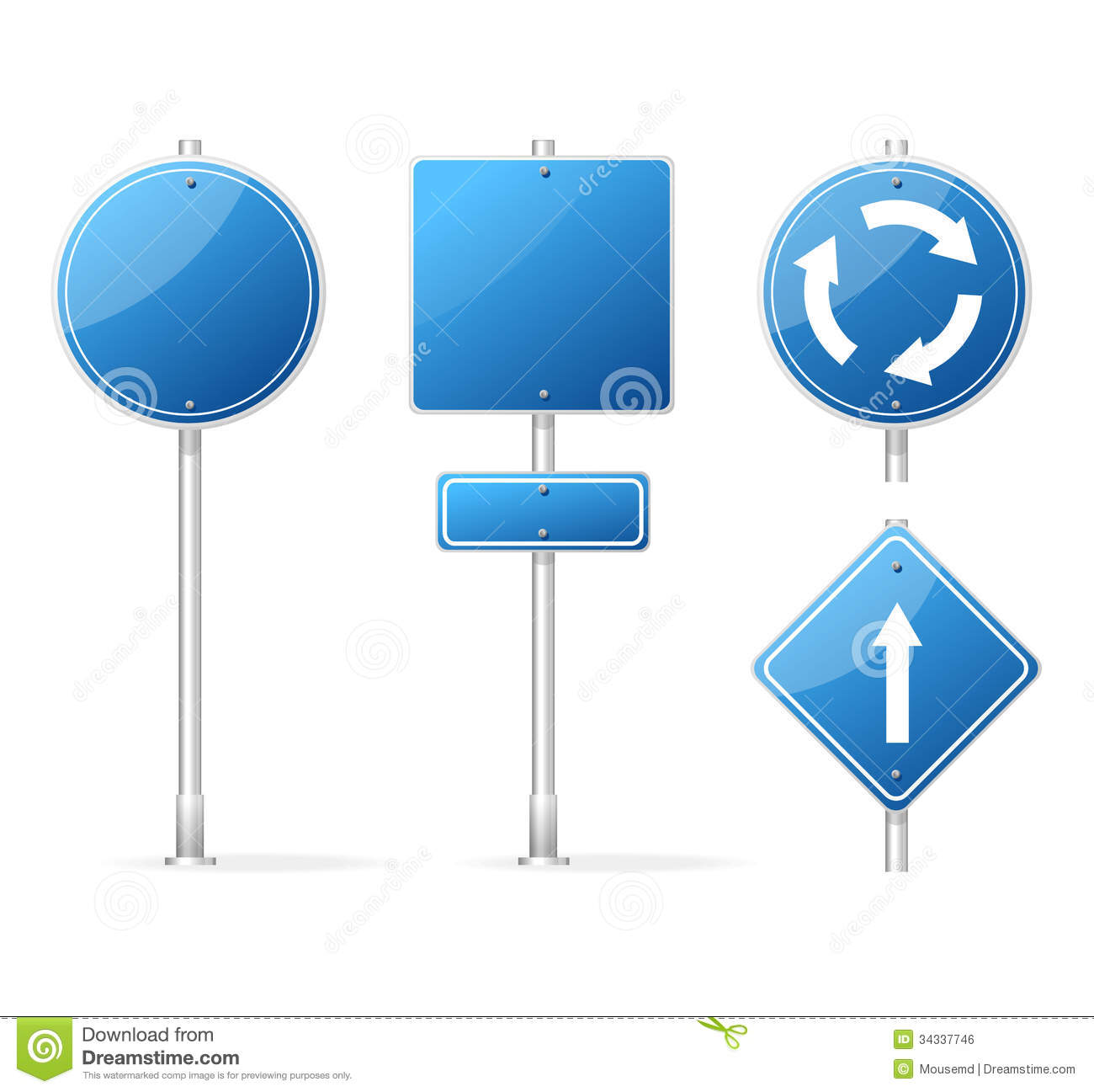 Vector Blank Traffic Sign Blue Set Royalty Free Stock