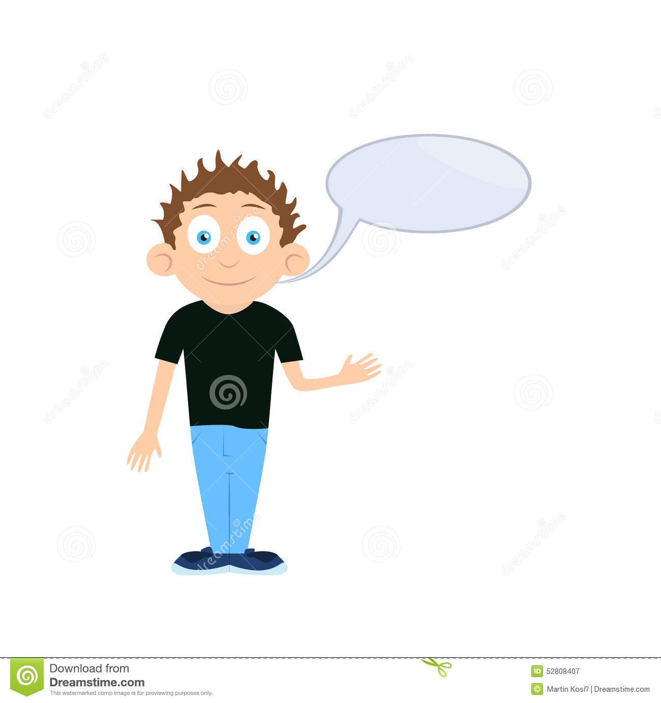 Vector Boy Cartoon Character Talking With Empty Stock