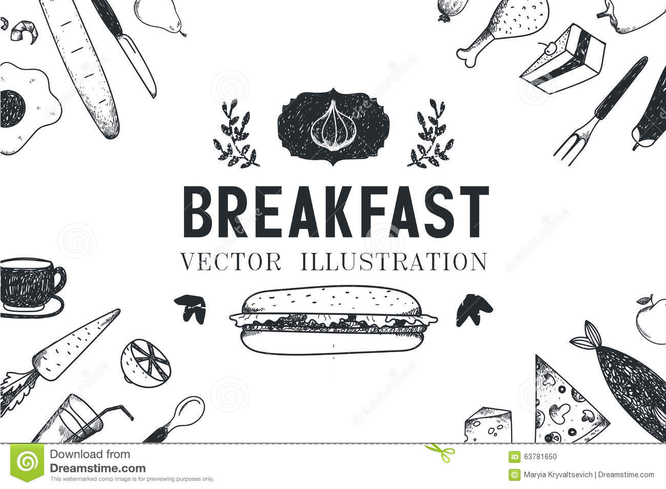 Vector Breakfast Food Hand Drawn Illustration Stock