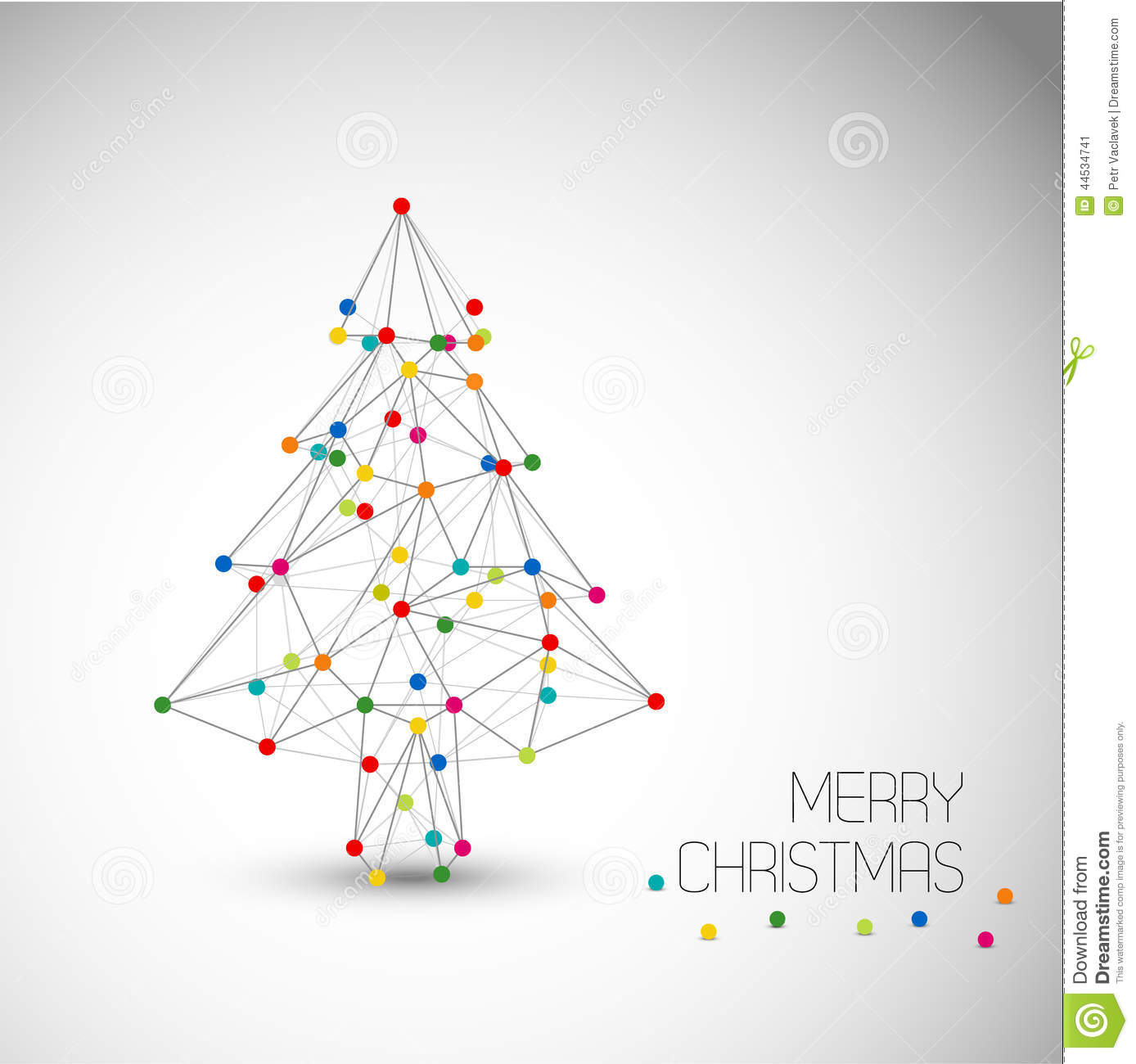 Vector Card With Abstract Christmas Tree Made From Lines