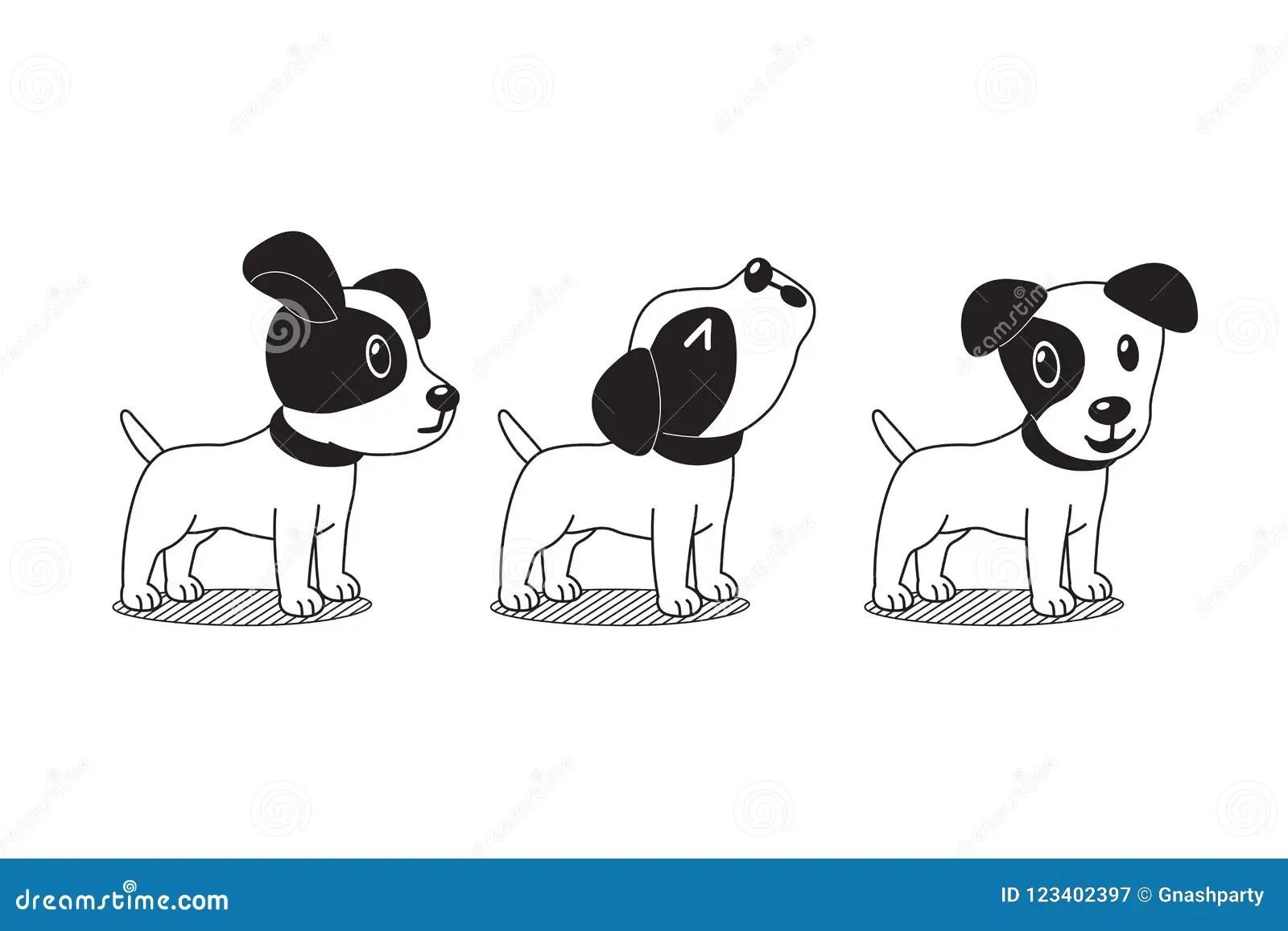 Vector Cartoon Character Cute Jack Russell Terrier Dog
