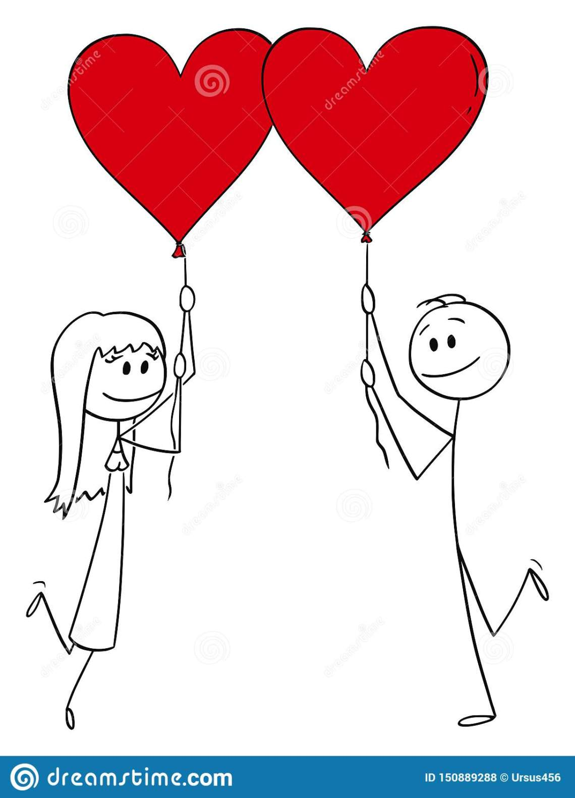 Download Vector Cartoon Of Couple Of Man And Woman In Love Holding ...