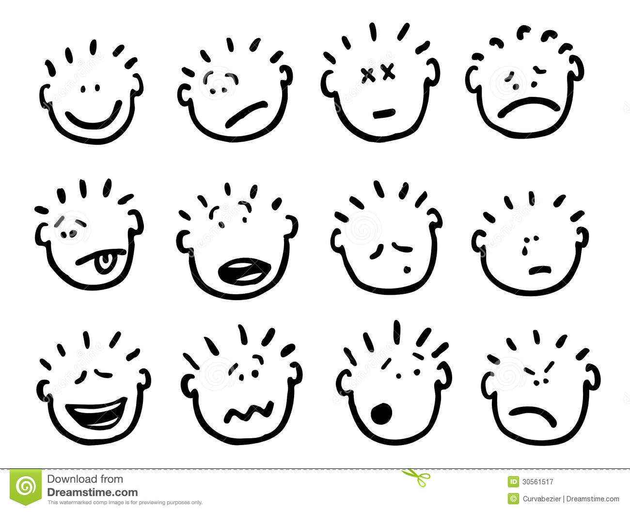 Vector Cartoon Faces And Emotions Royalty Free Stock