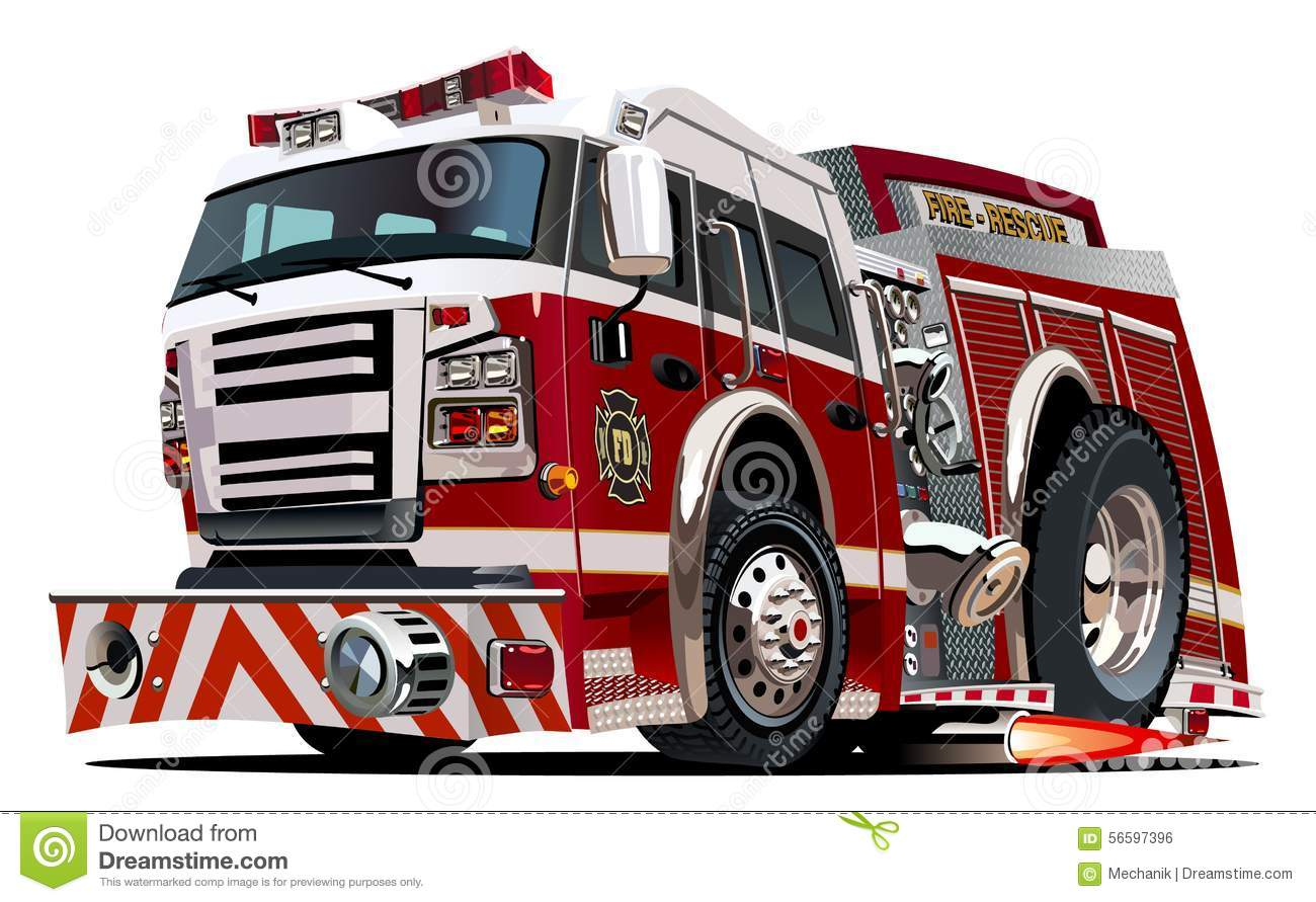 Vector Cartoon Firetruck Stock Vector