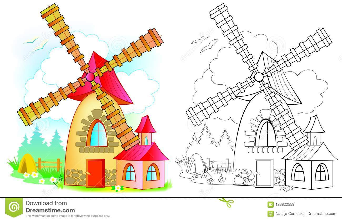 Illustration Of Fairyland Toy Windmill Colorful And Black