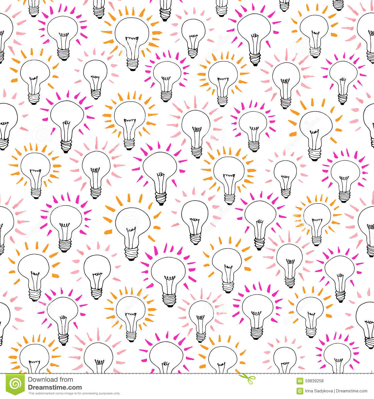 Vector Cartoon Light Bulb Idea Seamless Pattern Stock