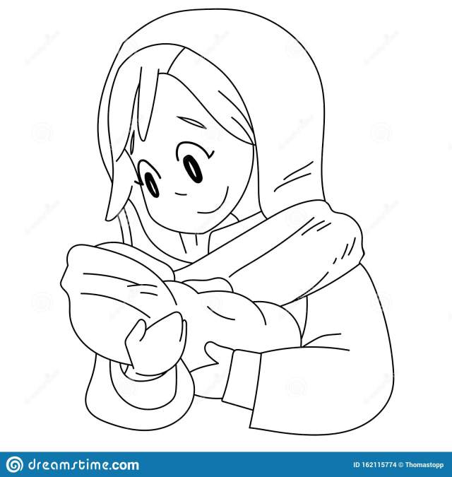A Vector Cartoon of Mary Holding Baby Jesus. Coloring Page Stock